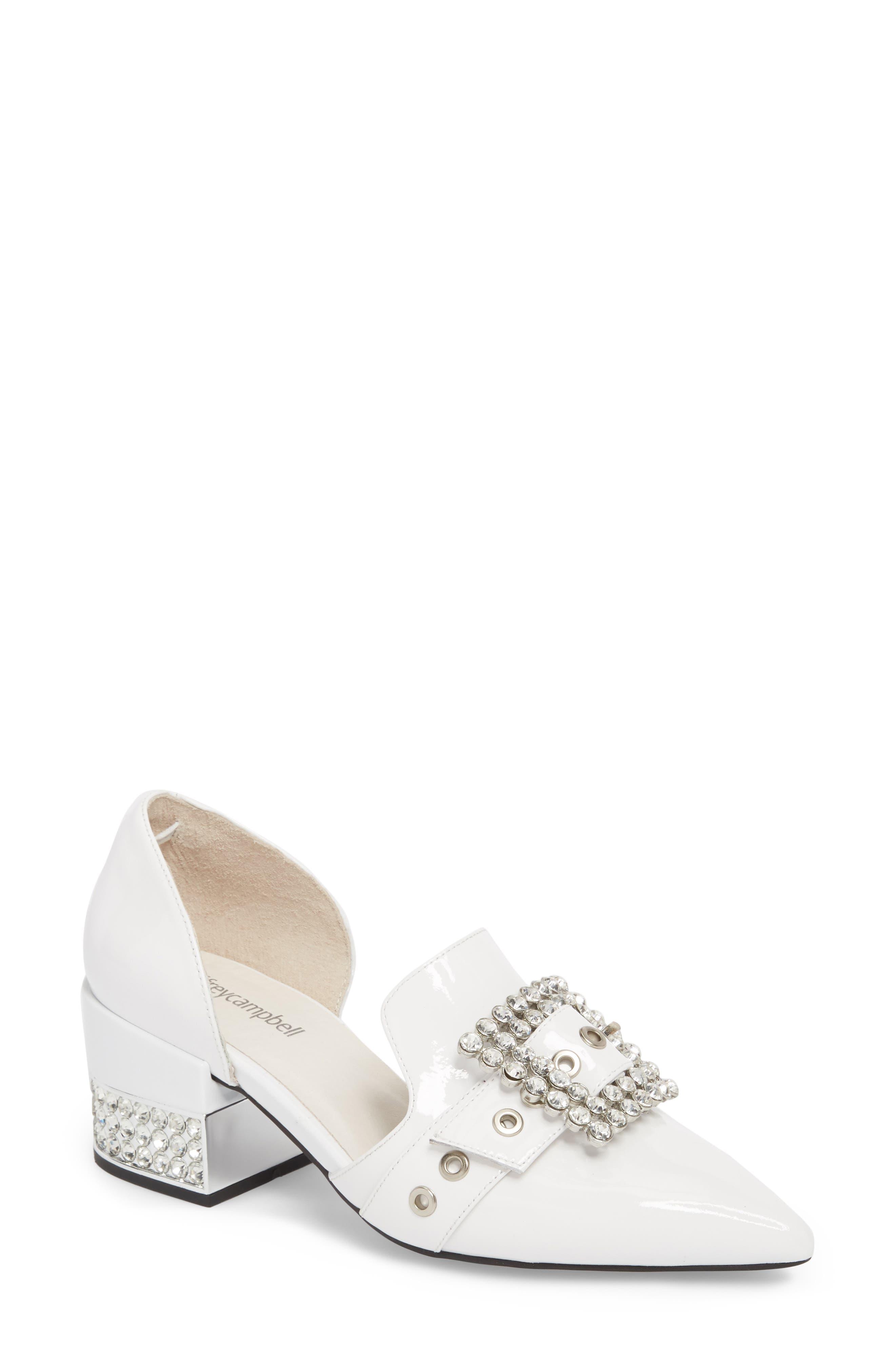 Zofia Jeweled Heel Pump,                             Main thumbnail 1, color,                             White Patent Silver