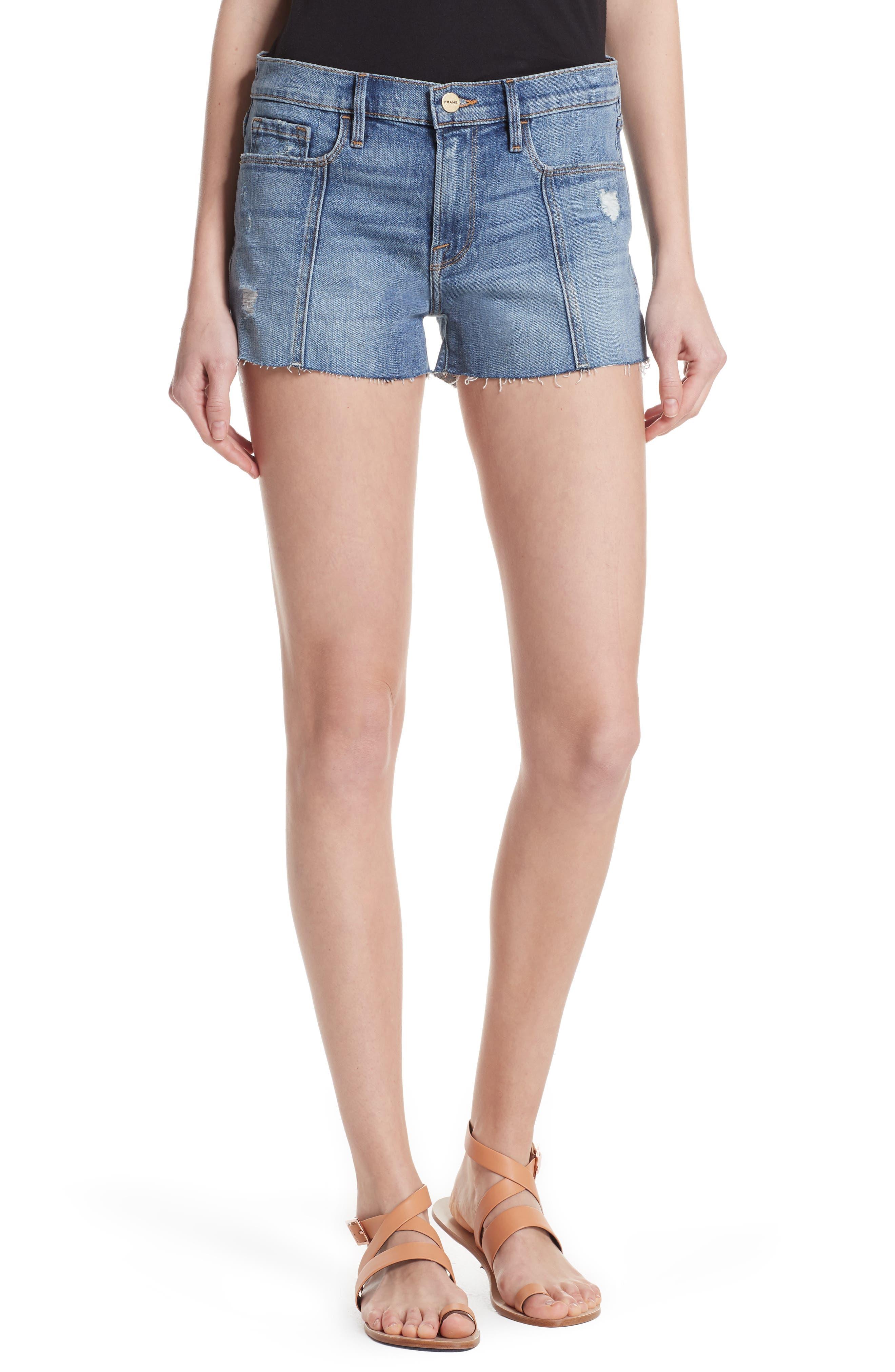 Le Cutoff Center Seam Denim Shorts,                         Main,                         color, Sandpiper