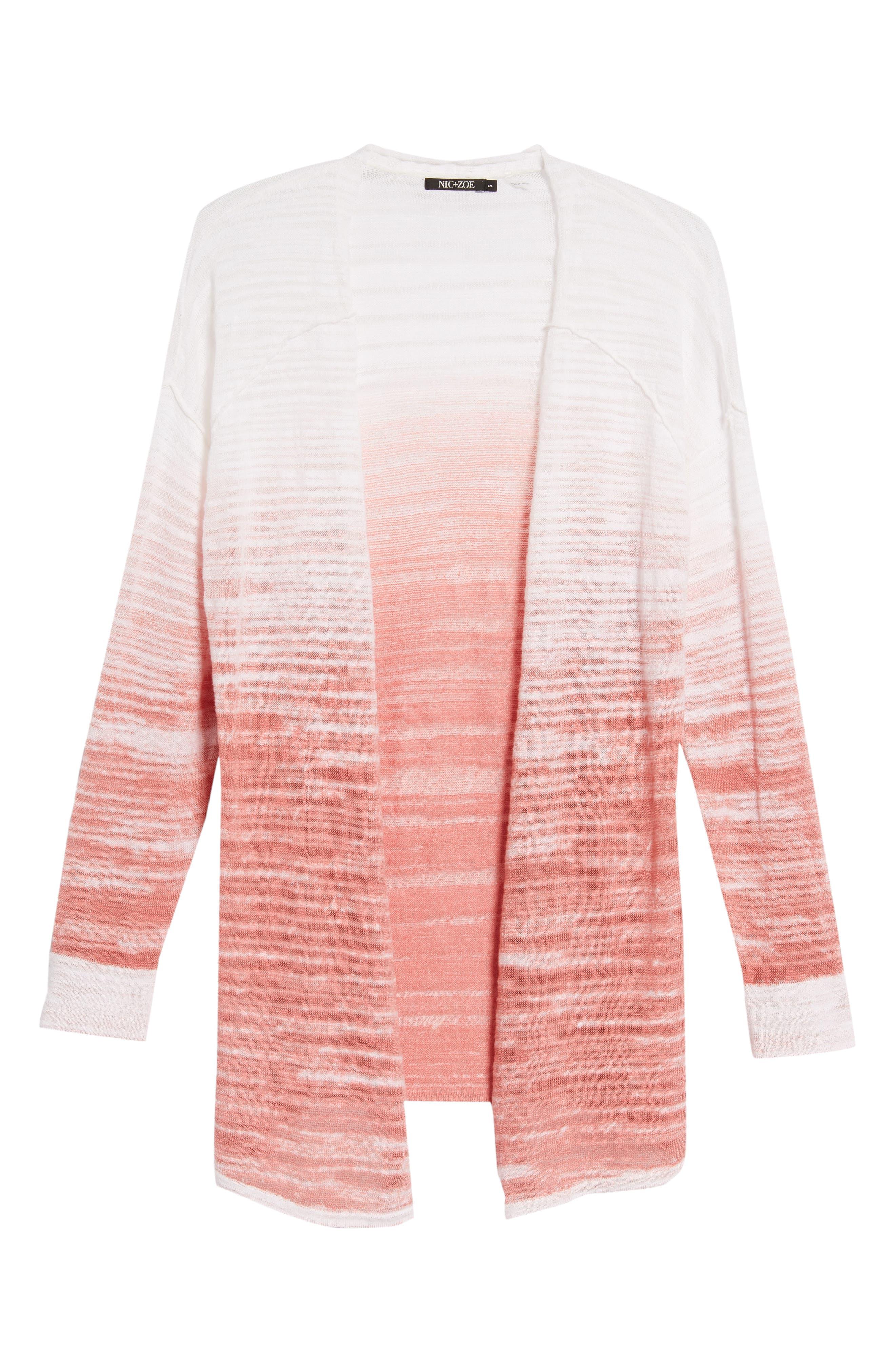 Open Breeze Linen Cotton Ombré Cardigan,                             Alternate thumbnail 6, color,                             Pink Clay
