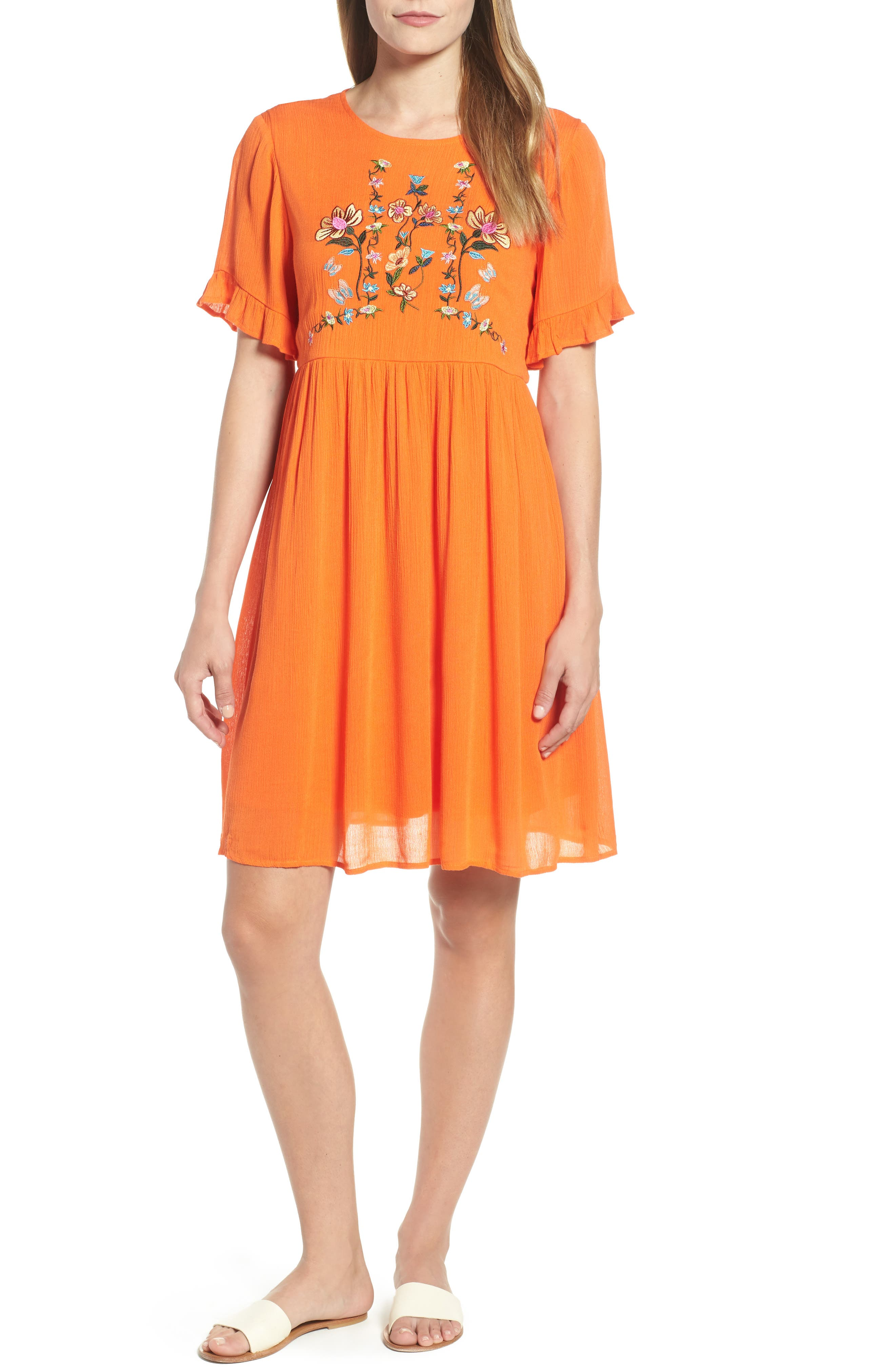 Embroidered Dress,                             Main thumbnail 1, color,                             Orange
