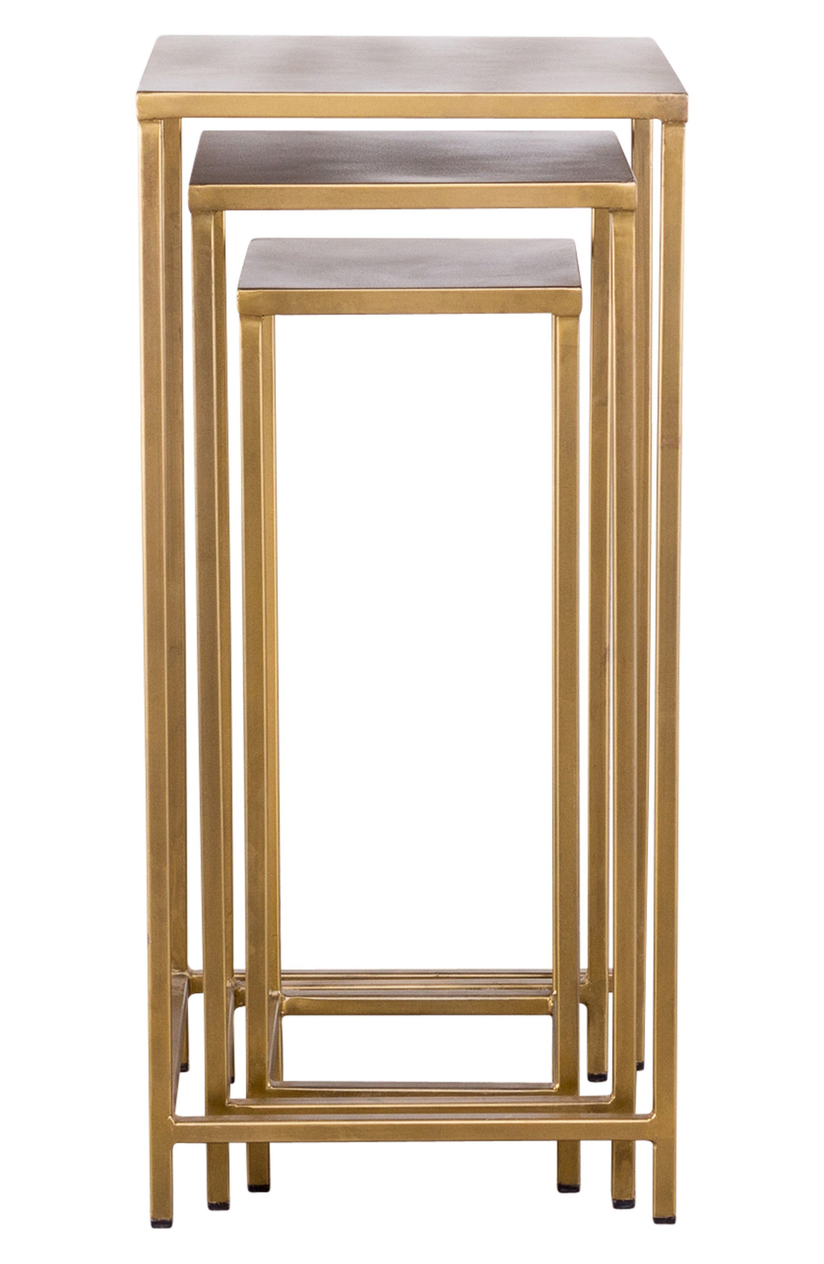 Pollock Set of 3 Tall Nesting Tables,                         Main,                         color, Brass