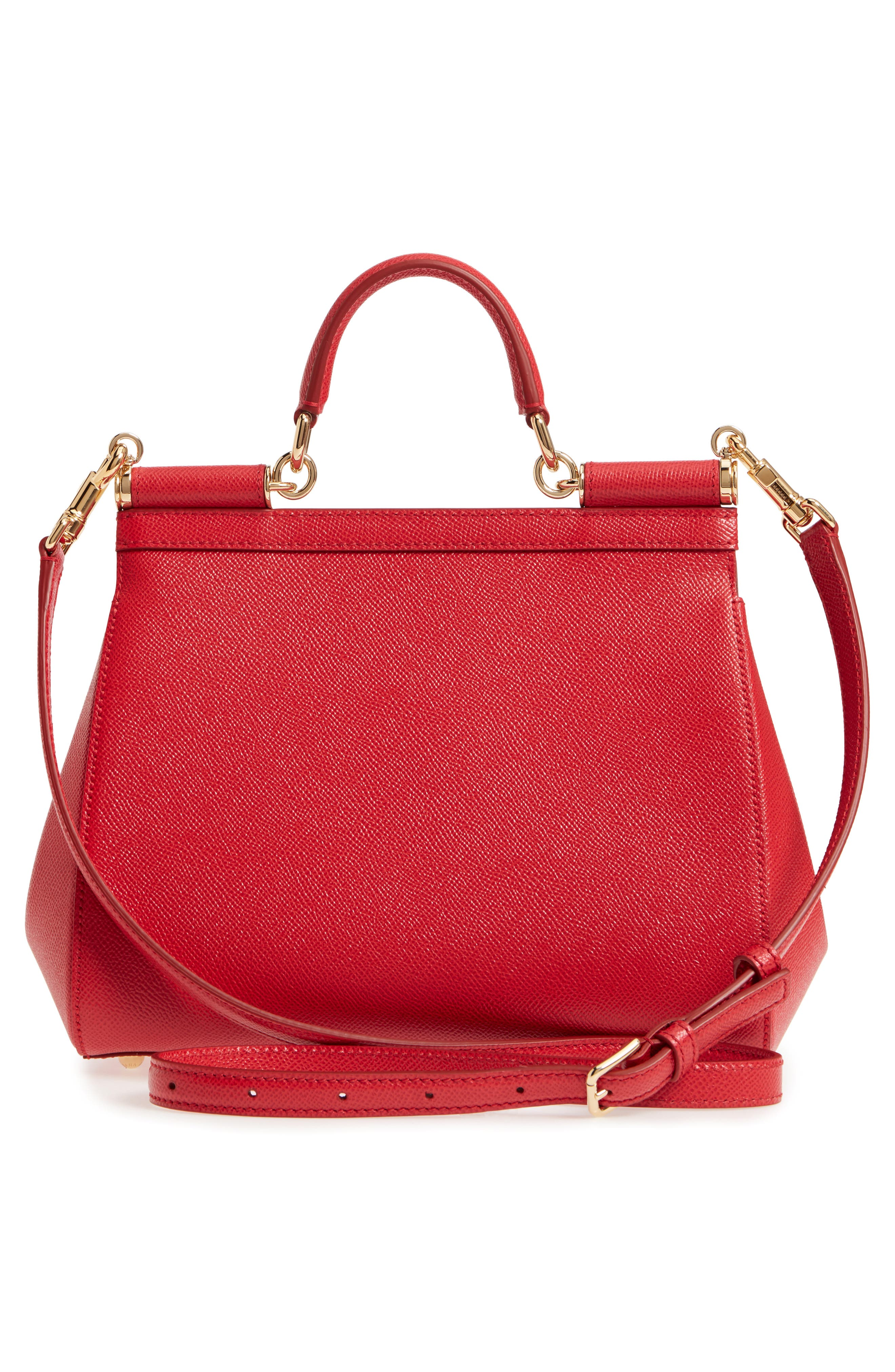 'Small Miss Sicily' Leather Satchel,                             Alternate thumbnail 3, color,                             Red