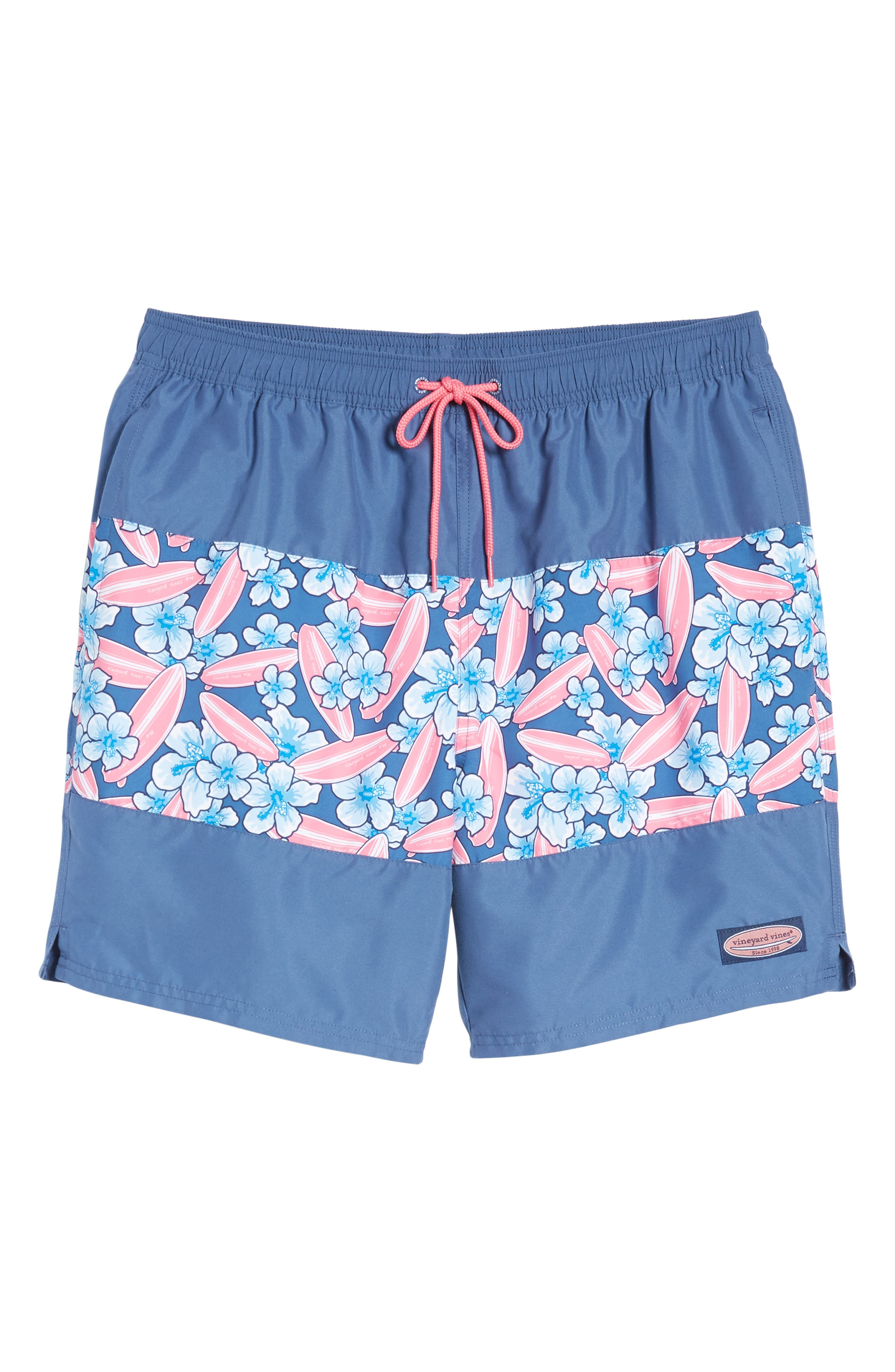 Chappy Pieced Surfboard Swim Trunks,                             Alternate thumbnail 6, color,                             Moonshine