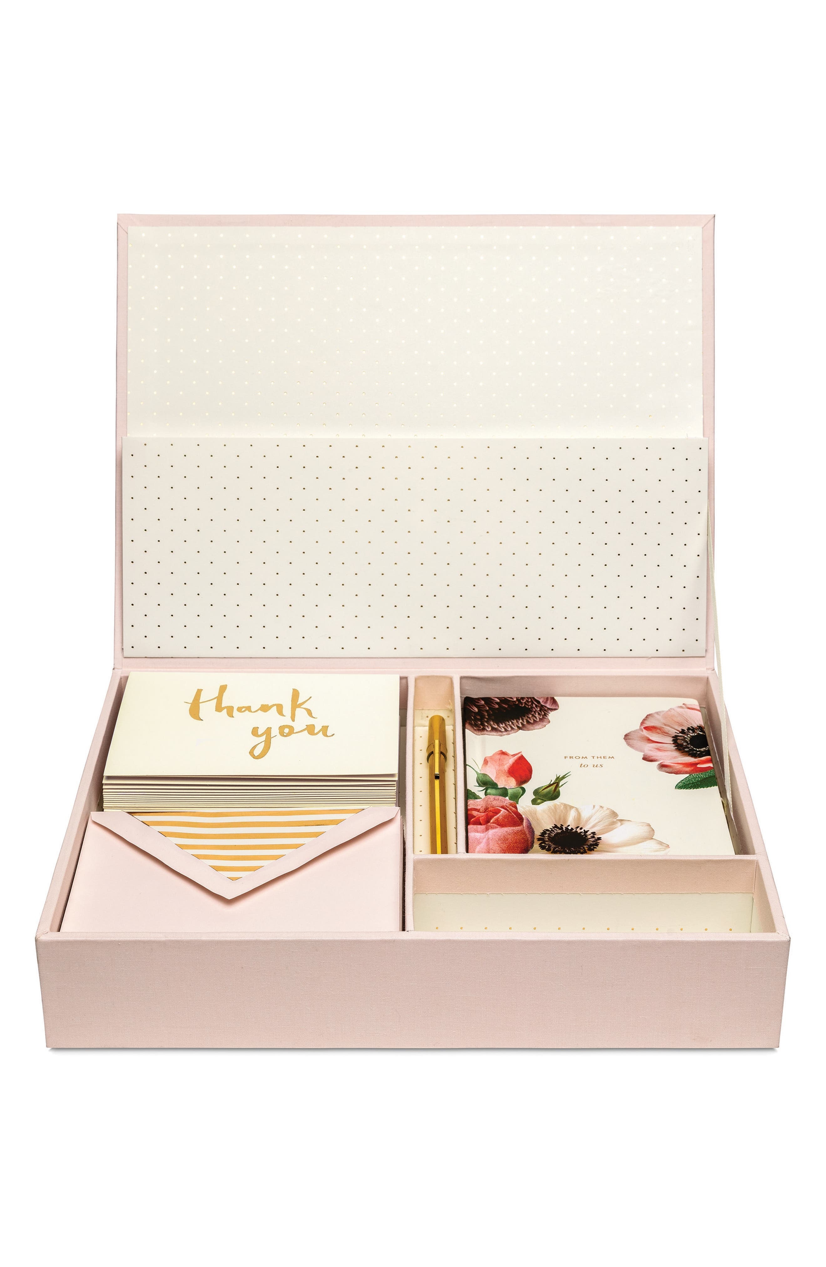 kate spade new york blush bridal keepsake thank you card box