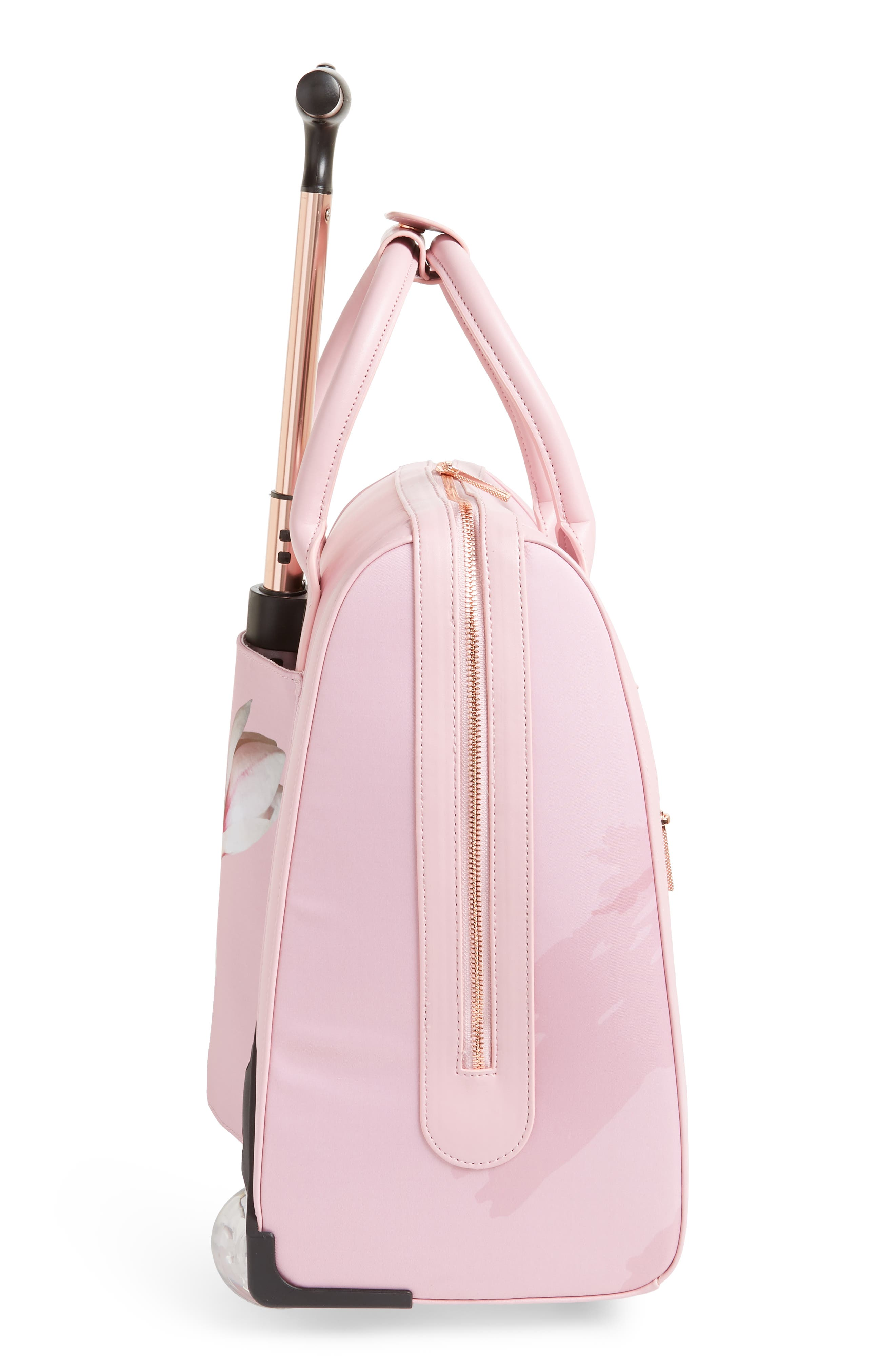 Caliie Harmony Rolling Faux Leather Travel Bag,                             Alternate thumbnail 3, color,                             Pale Pink