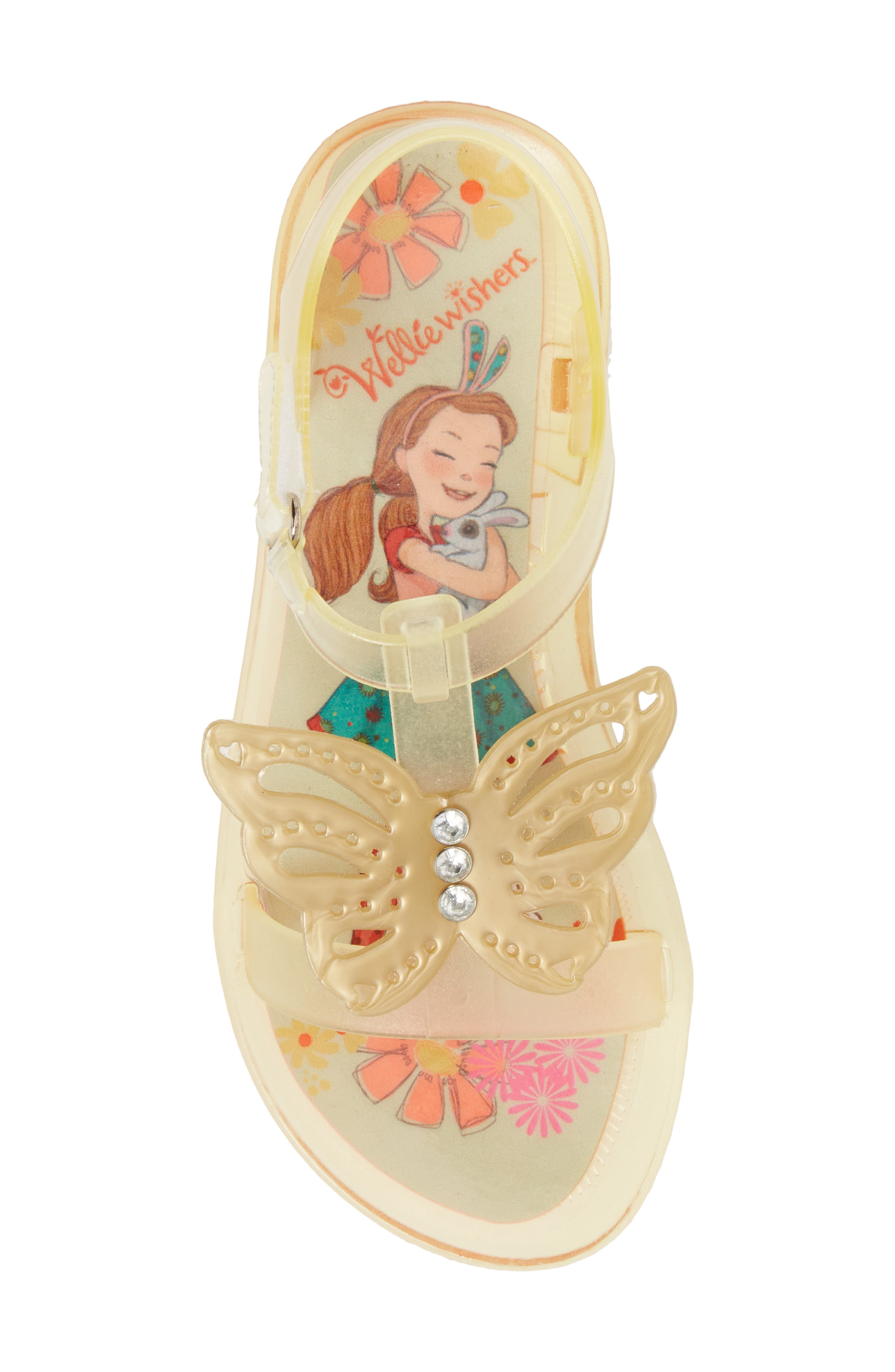 Willa Butterfly Jelly Sandal,                             Alternate thumbnail 5, color,                             Gold