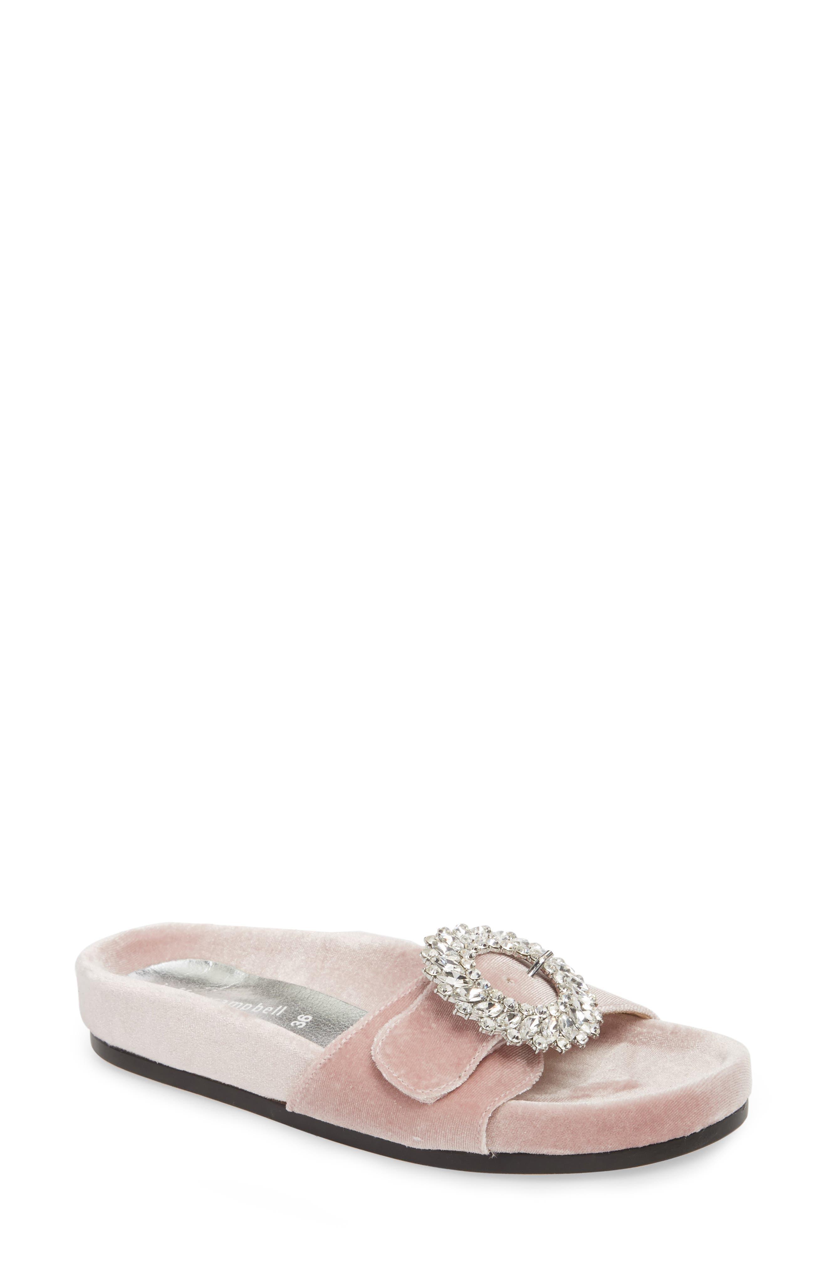 Upolu Embellished Slide Sandal,                             Main thumbnail 1, color,                             Blush Velvet/ Silver