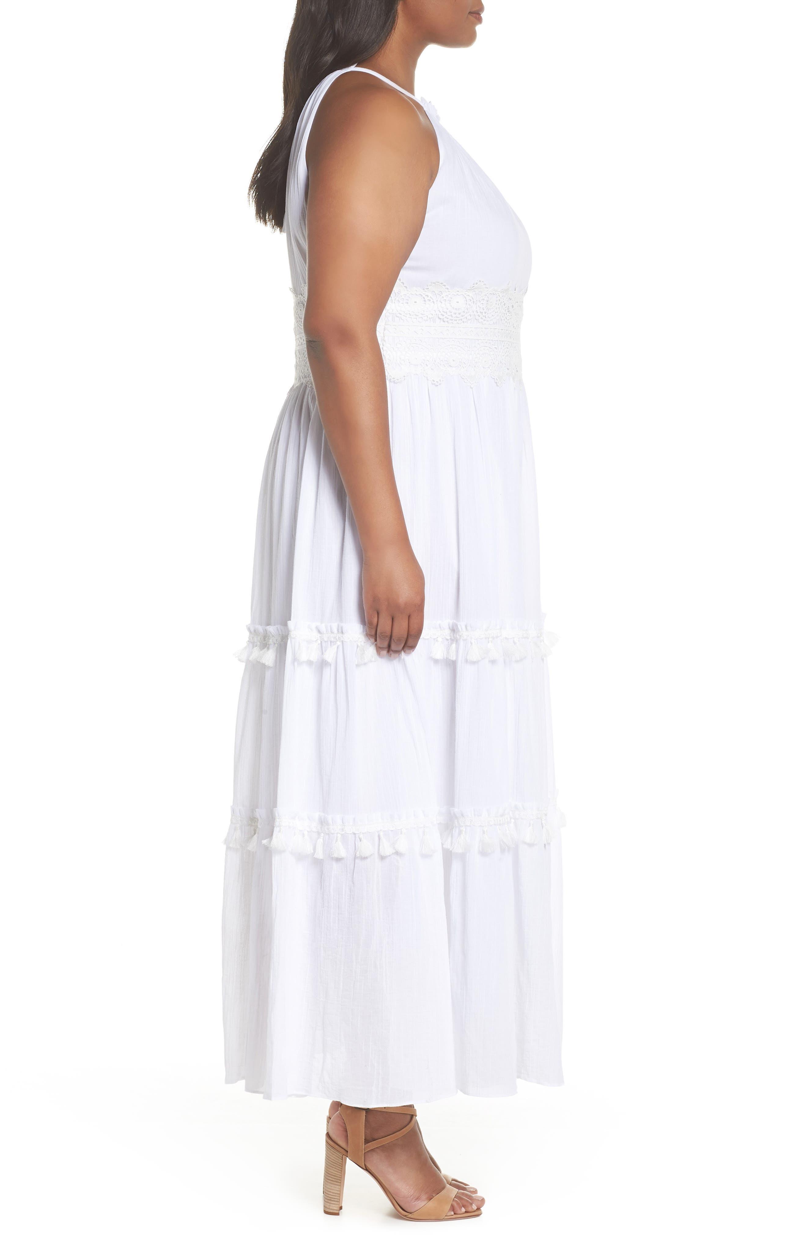 Halter Neck Cotton Maxi Dress,                             Alternate thumbnail 3, color,                             Ivory