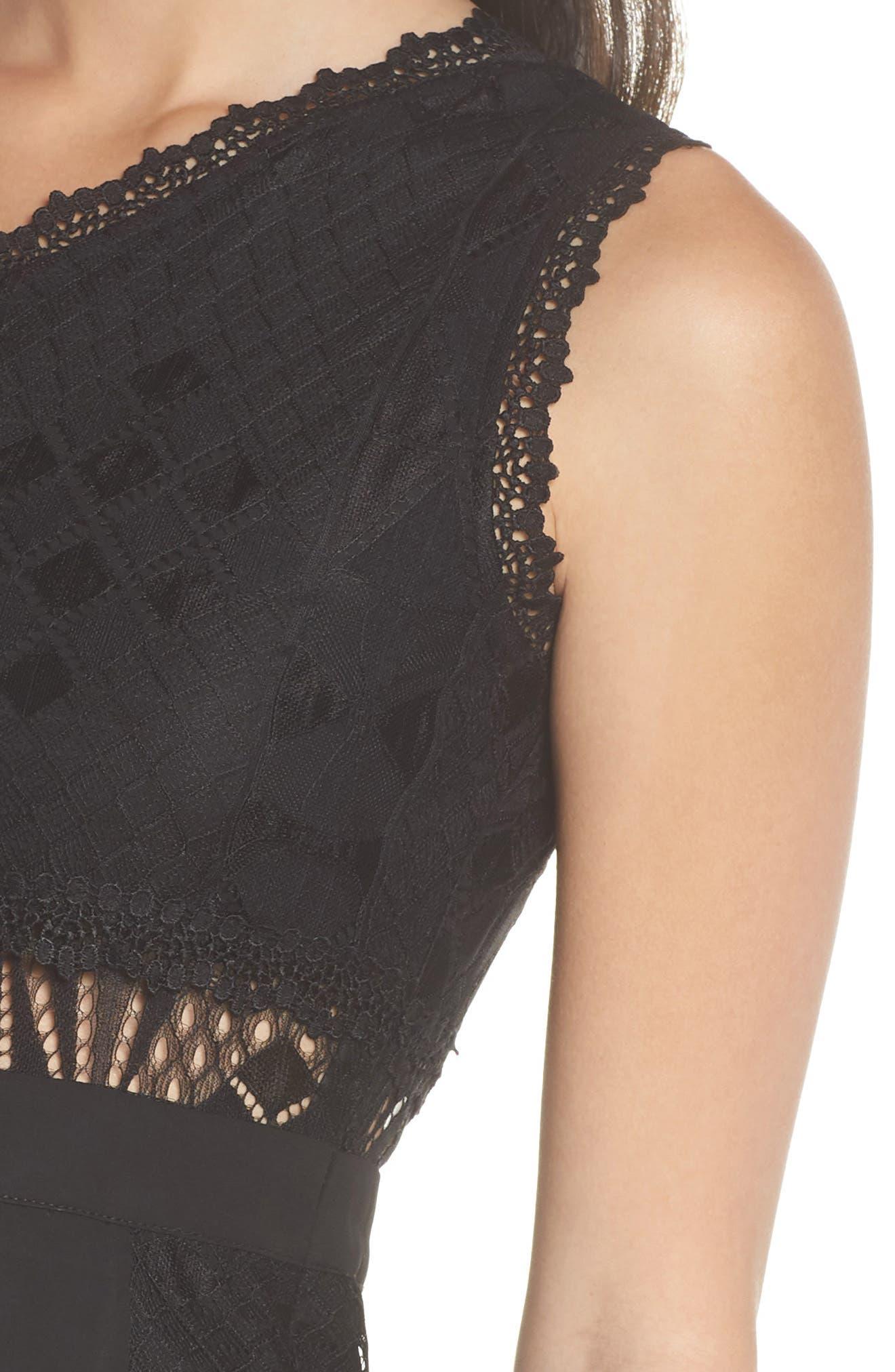 Juliet One-Shoulder Lace Gown,                             Alternate thumbnail 4, color,                             Black/ Black