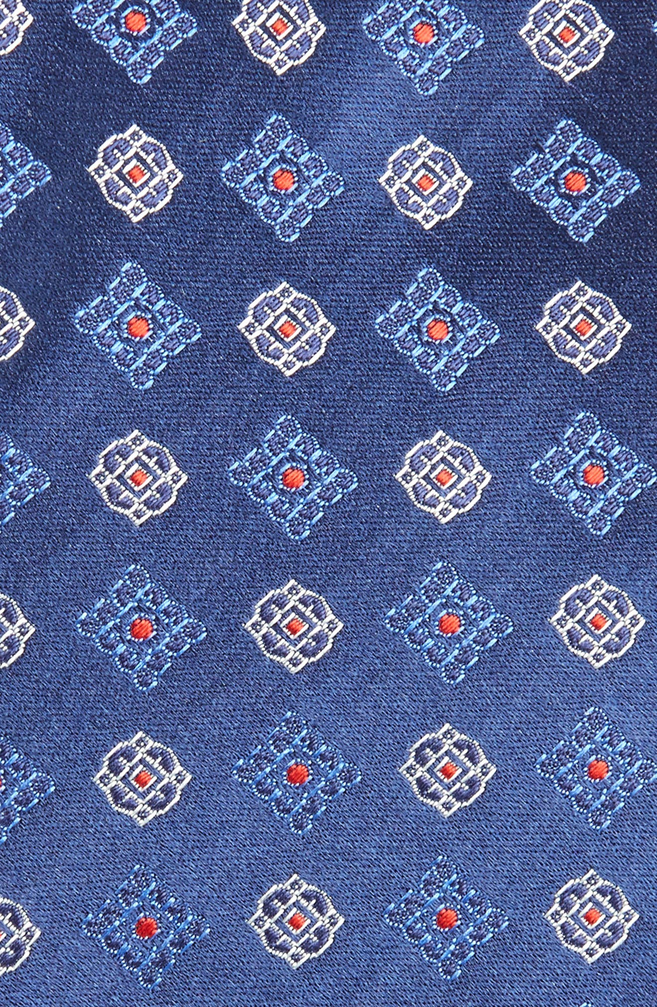 Medallion Silk Tie,                             Alternate thumbnail 2, color,                             Navy