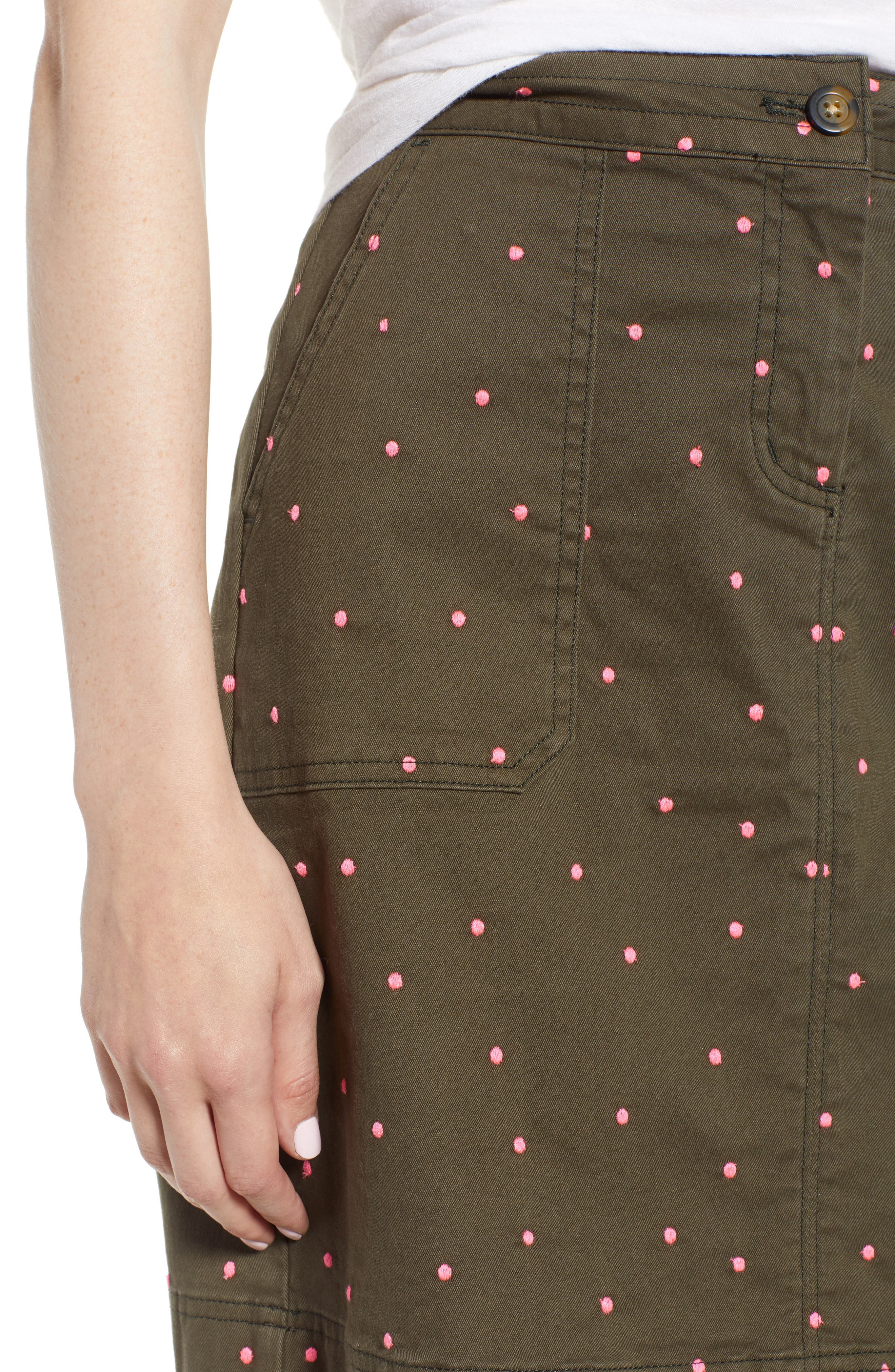 Stretch Cotton A-Line Skirt,                             Alternate thumbnail 5, color,                             Khaki With Fluro Pin