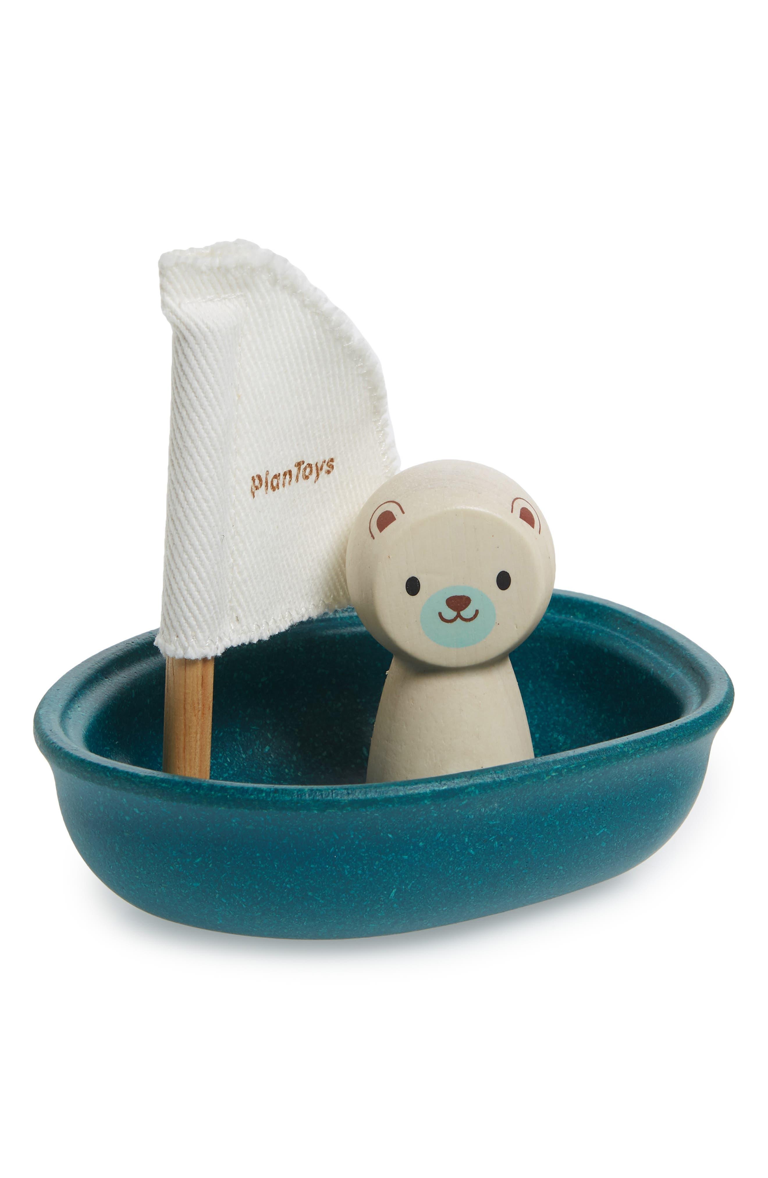 Plan Toys<sup>®</sup> Polar Bear Sailing Boat Toy,                             Main thumbnail 1, color,                             Blue