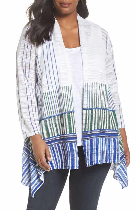 Lucky Brand Stripe Long Open Cardigan (Plus Size) by LUCKY BRAND