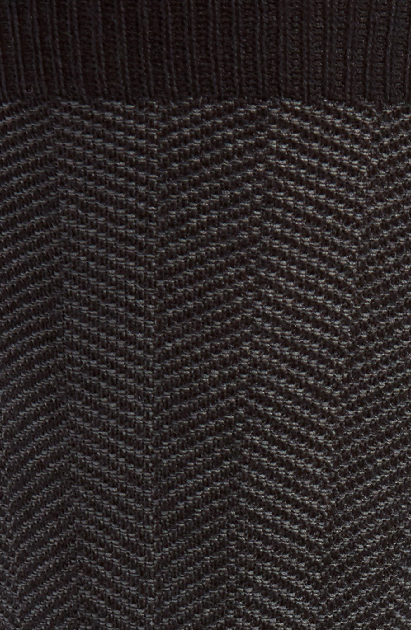 Herringbone Texture Crew Socks,                             Alternate thumbnail 2, color,                             Black