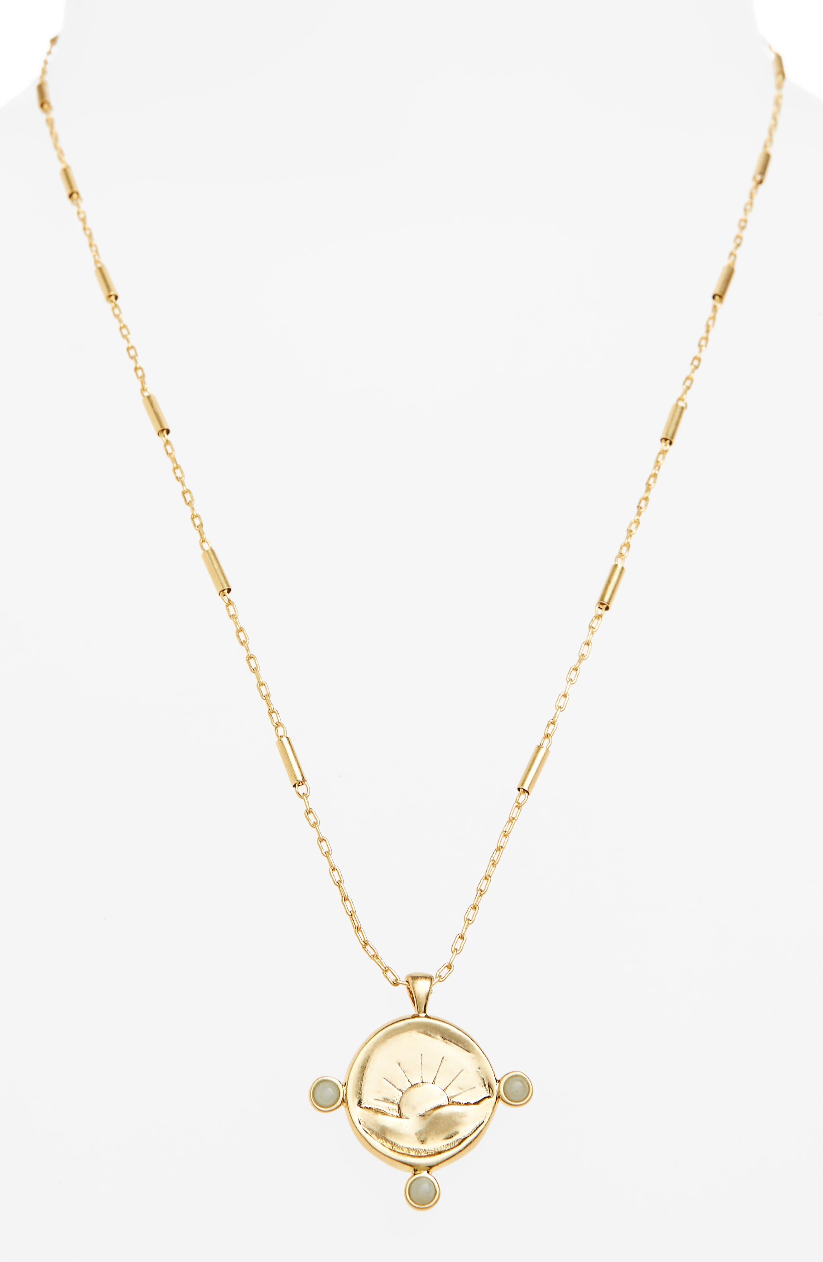 Etched Sun Necklace,                             Alternate thumbnail 2, color,                             Vintage Gold