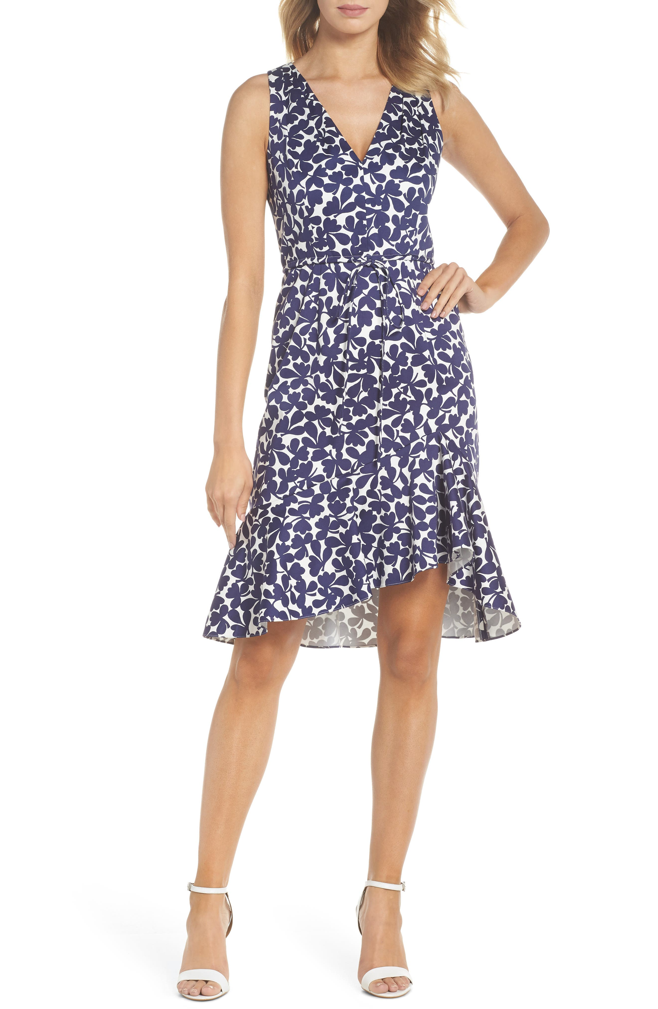 Lady Luck Print Cotton Sateen Dress,                             Main thumbnail 1, color,                             Navy/ Ivory