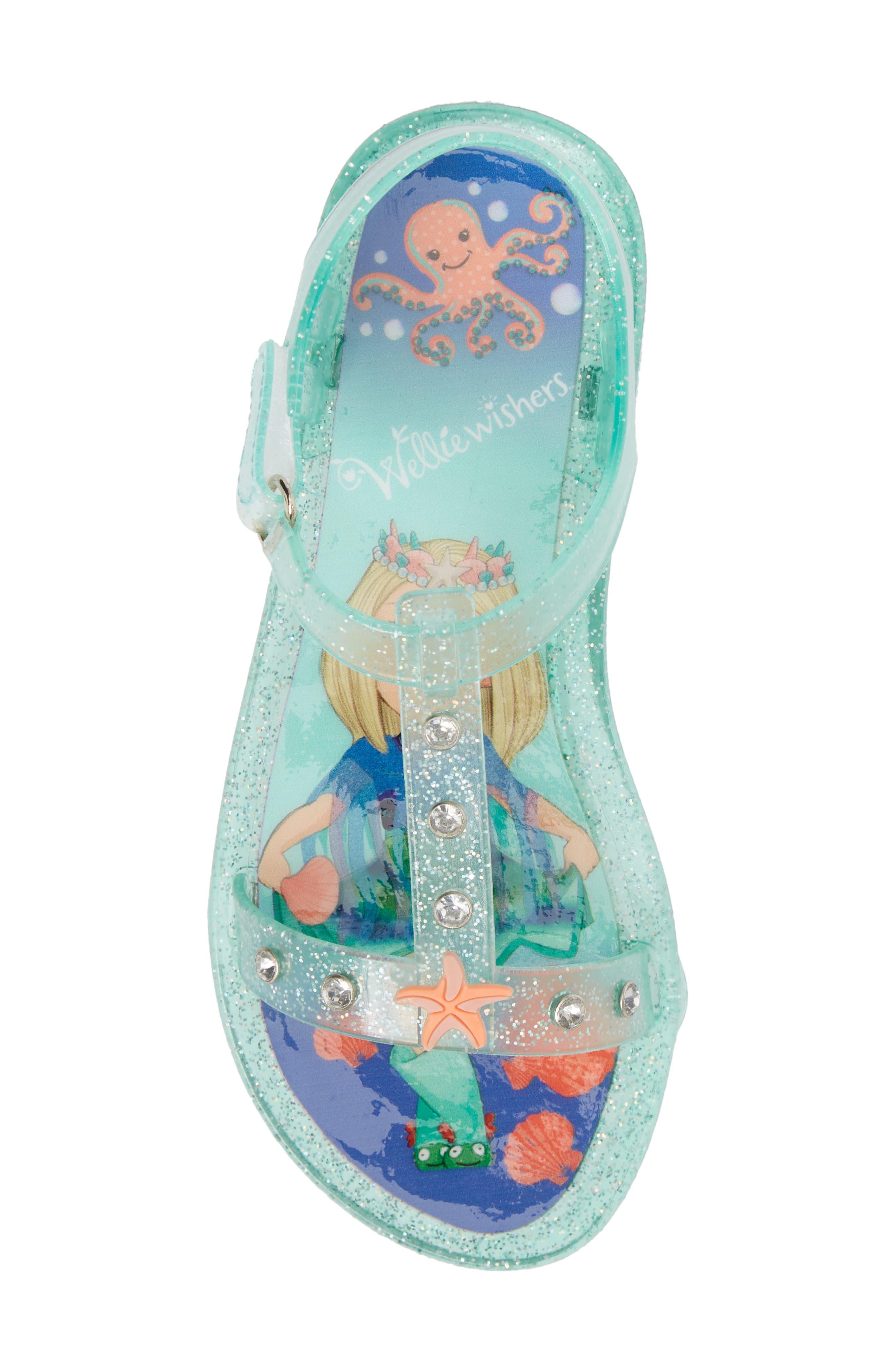 Camille Glitter Jelly Sandal,                             Alternate thumbnail 5, color,                             Beach Glass