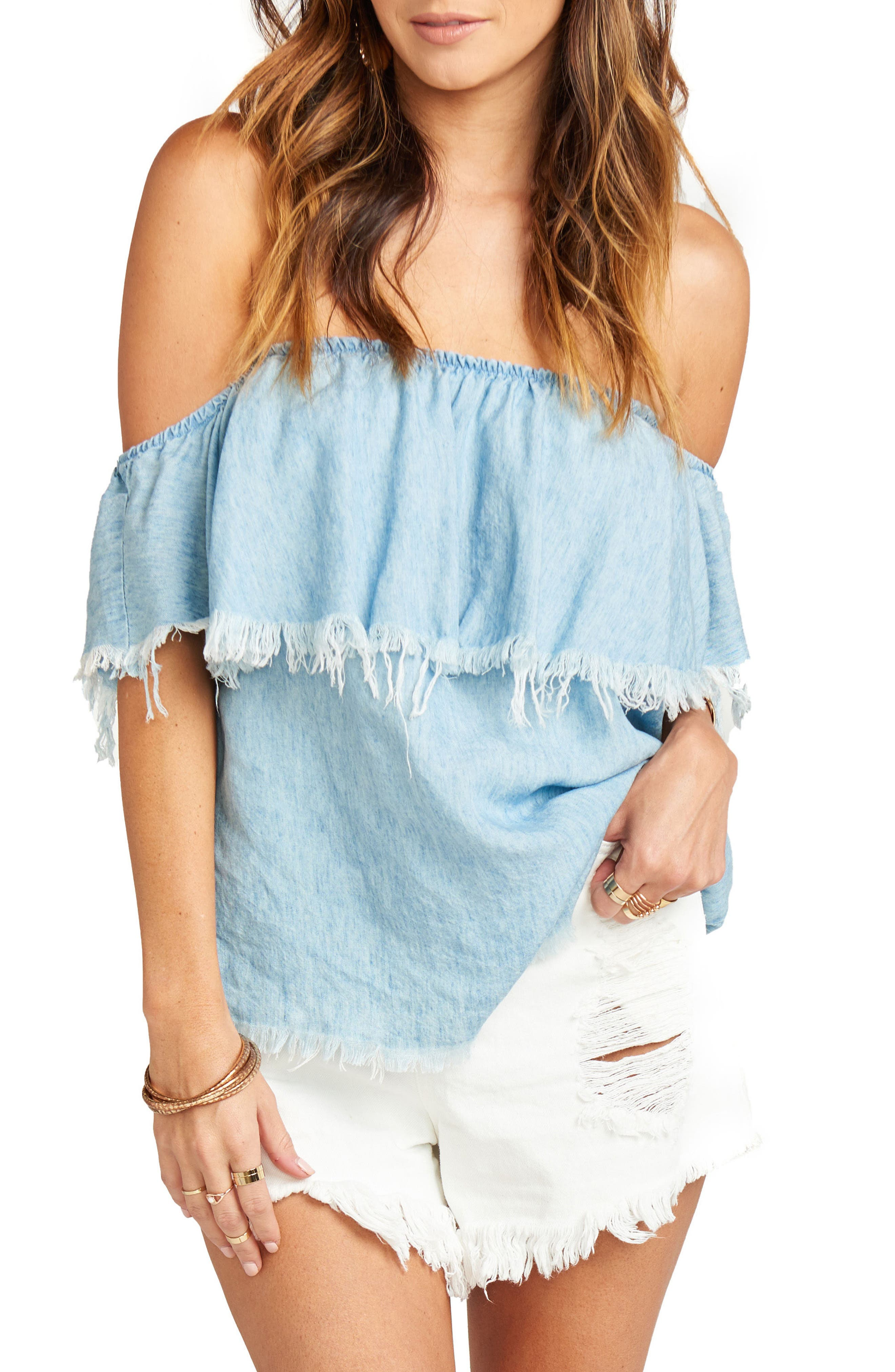 Chiquita Off the Shoulder Top,                             Main thumbnail 1, color,                             Light Chambray