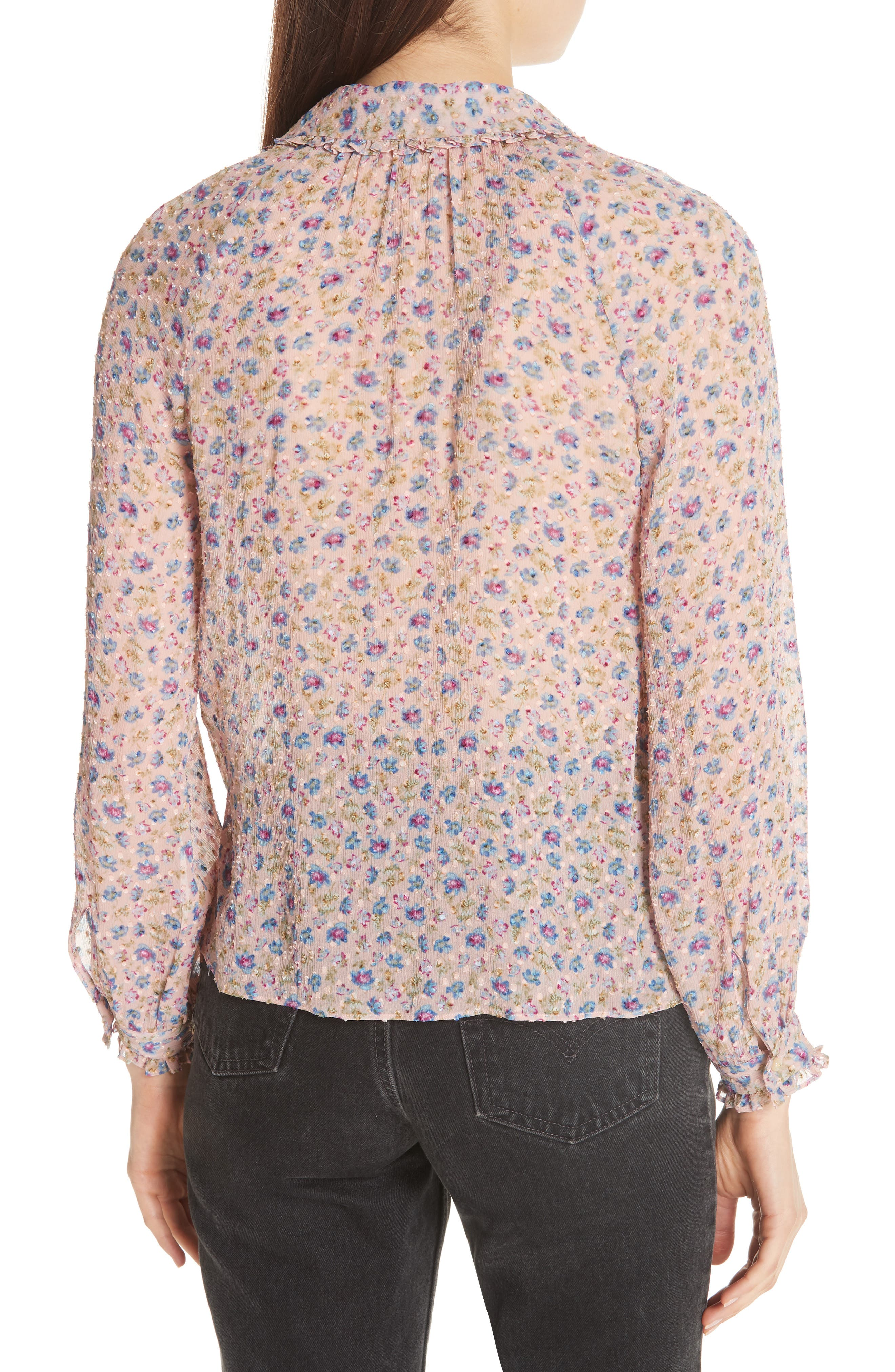 Zelma Floral Top,                             Alternate thumbnail 2, color,                             Nude Combo