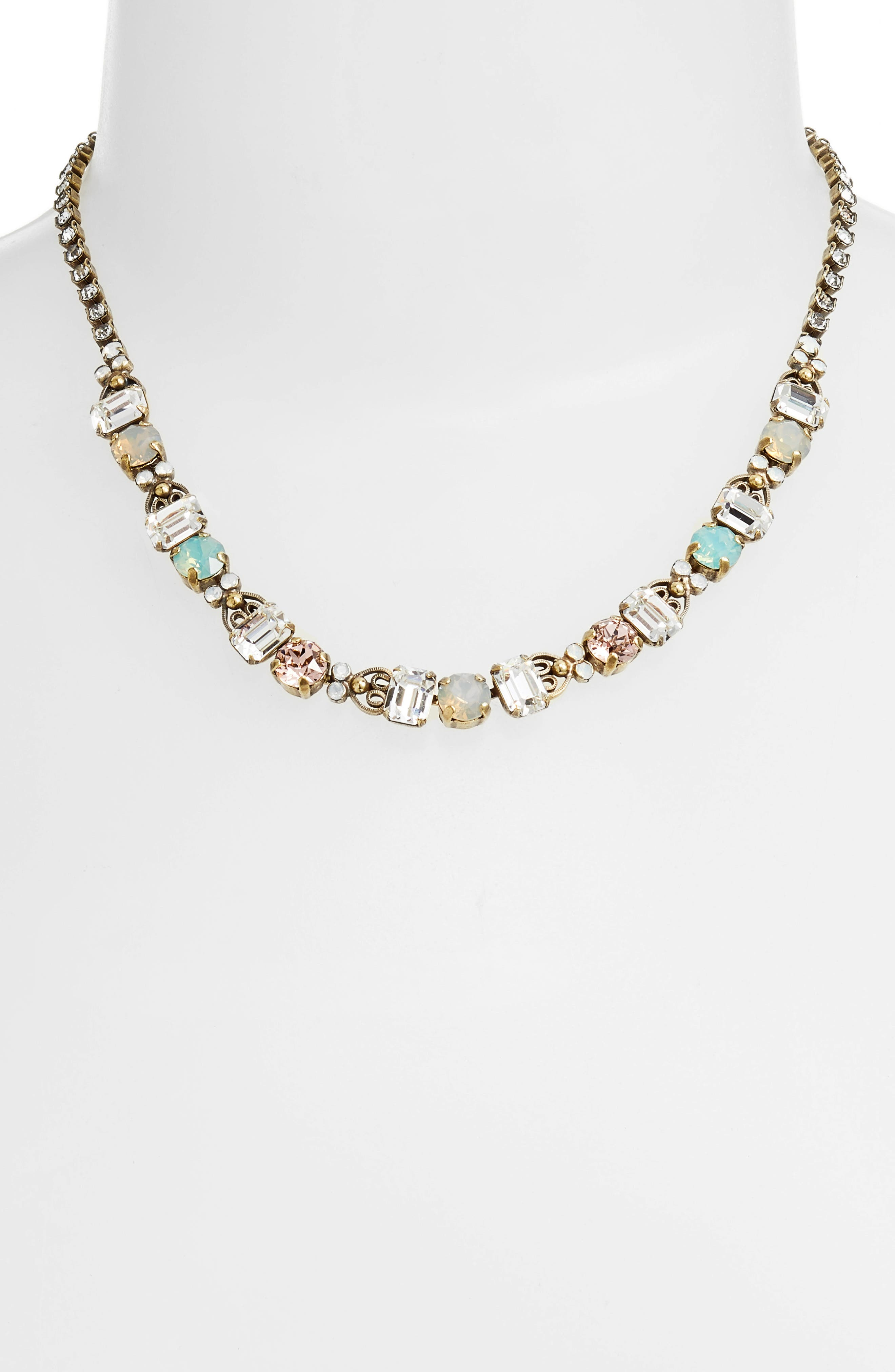 Forsythia Crystal Necklace,                             Main thumbnail 1, color,                             Clear/ Gray