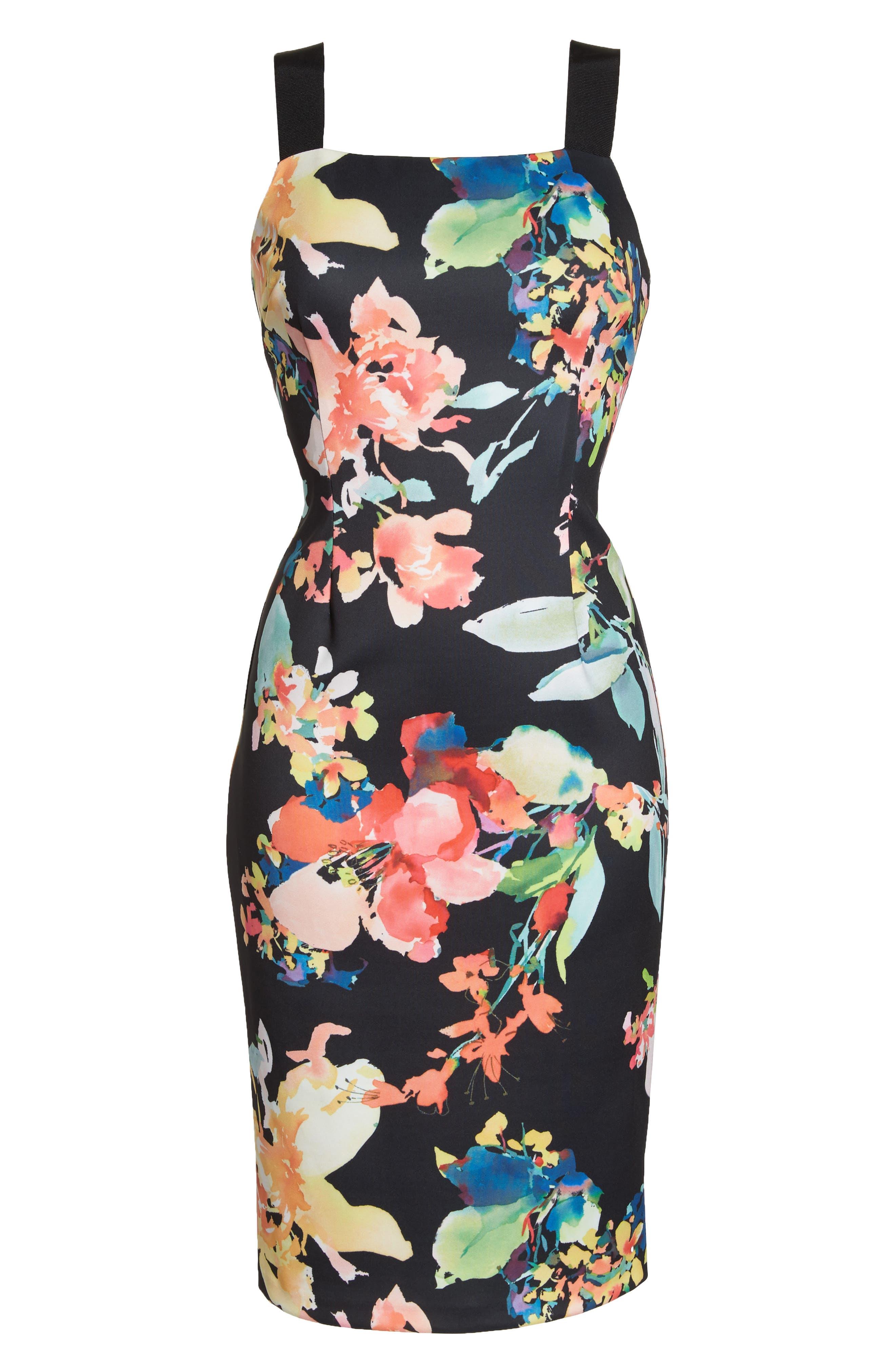 Garden Fiesta Print Scuba Sheath Dress,                             Alternate thumbnail 7, color,                             Black Multi