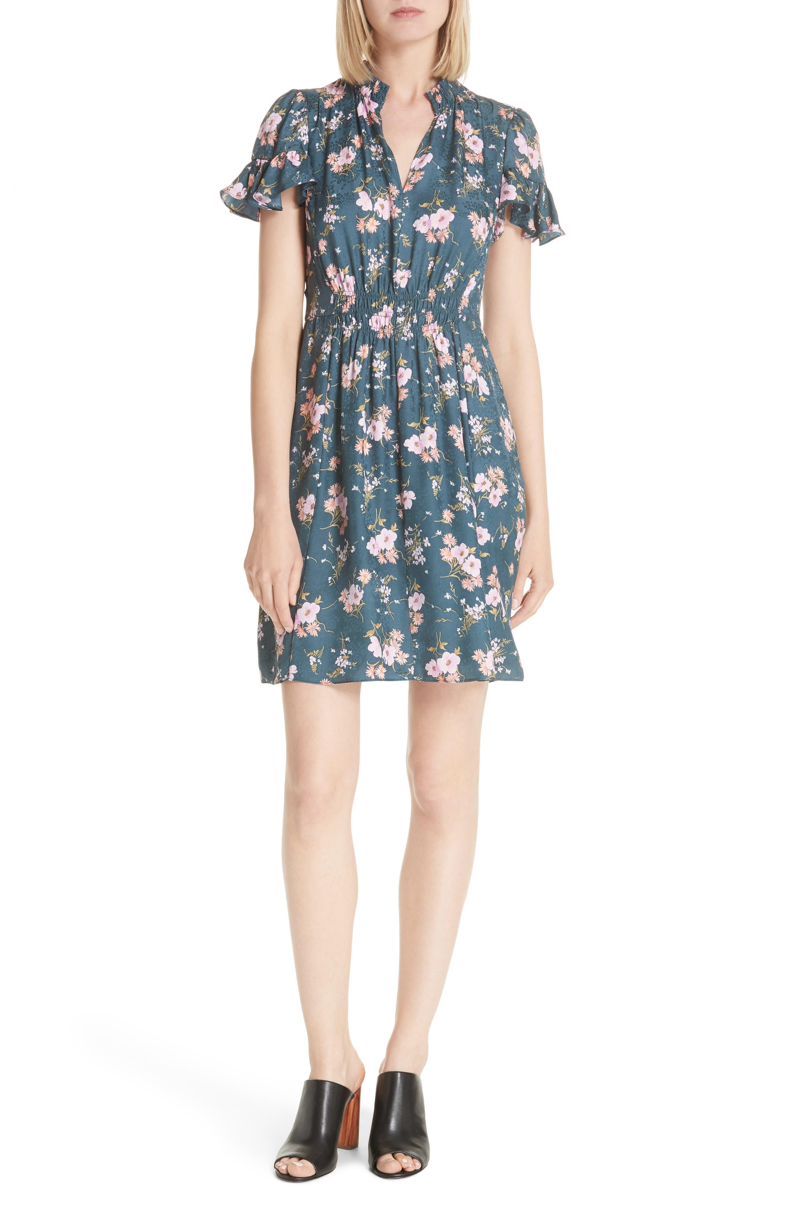 Emilia Floral Silk Jacquard Dress,                             Main thumbnail 1, color,                             Teal Combo