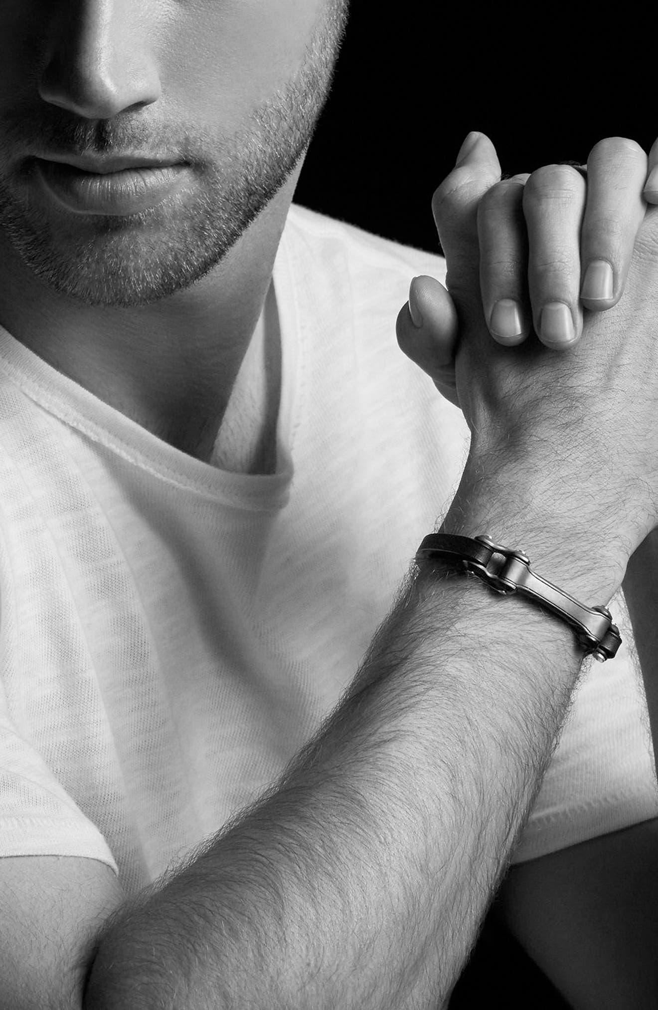 Anvil ID Bracelet,                             Alternate thumbnail 3, color,                             Silver/ Bronze/ Black Leather