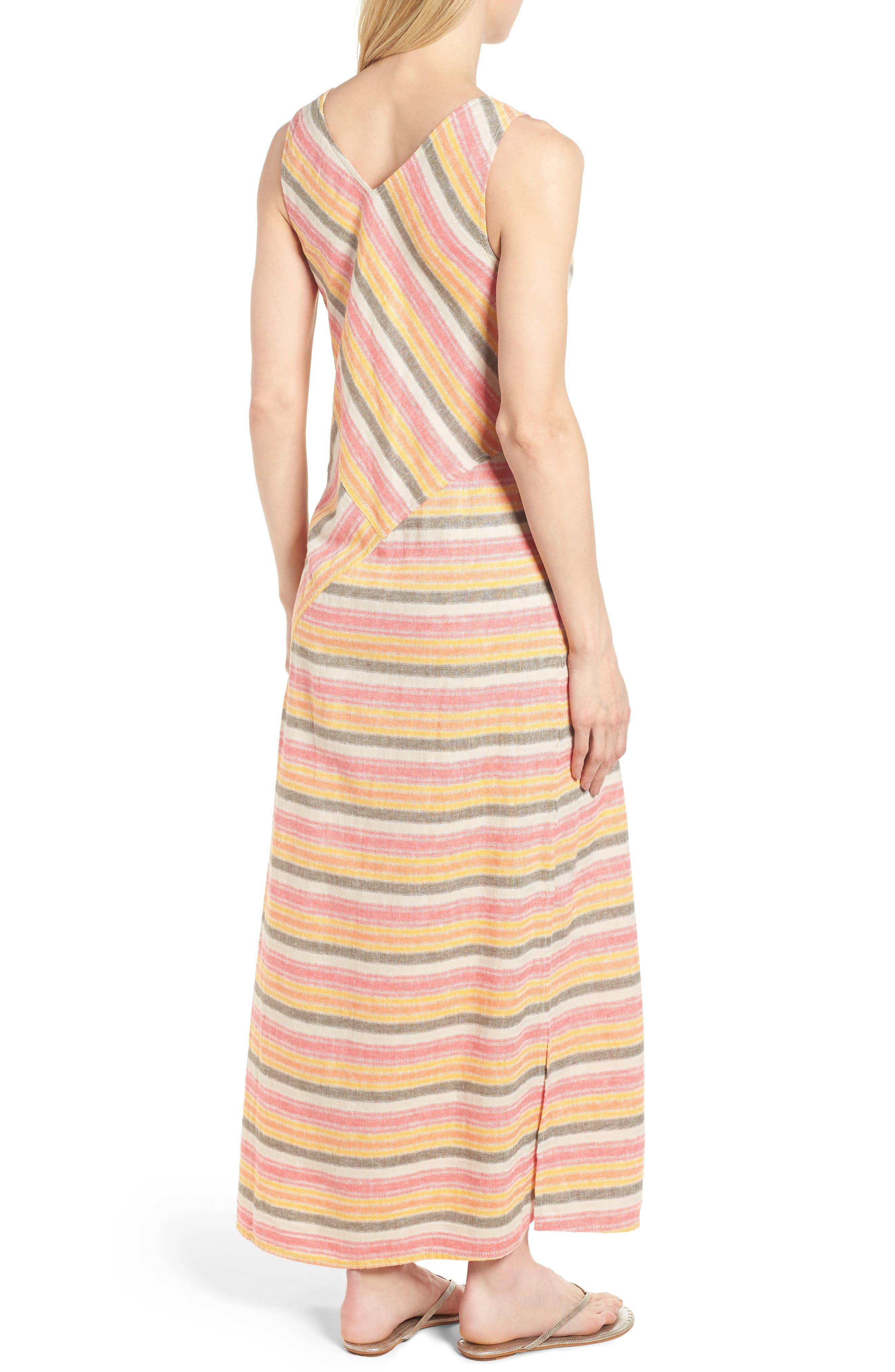 Stripe A-Line Maxi Dress,                             Alternate thumbnail 2, color,                             Coral Erin Stripe