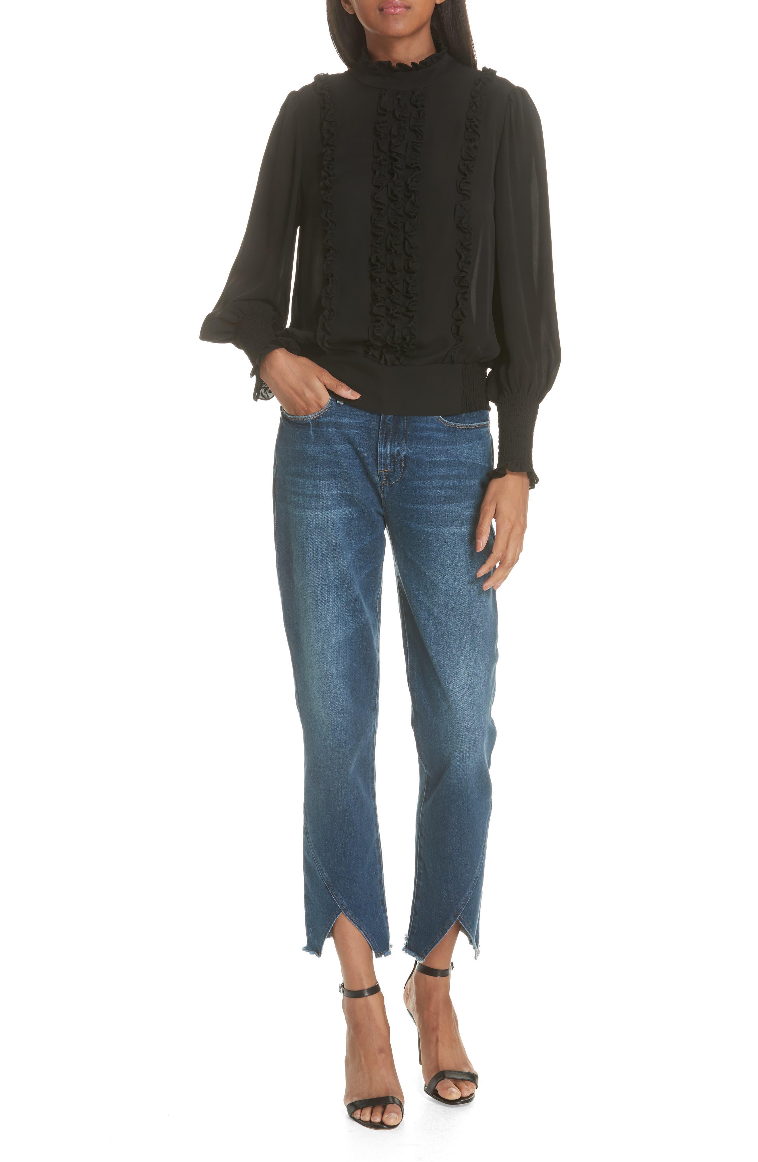 Le High Straight Asymmetrical Hem Jeans,                             Alternate thumbnail 10, color,                             Kingsway