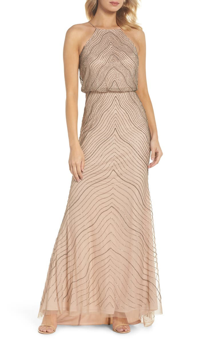 ADRIANNA PAPELL BEADED BLOUSON GOWN, TAUPE/PINK | ModeSens