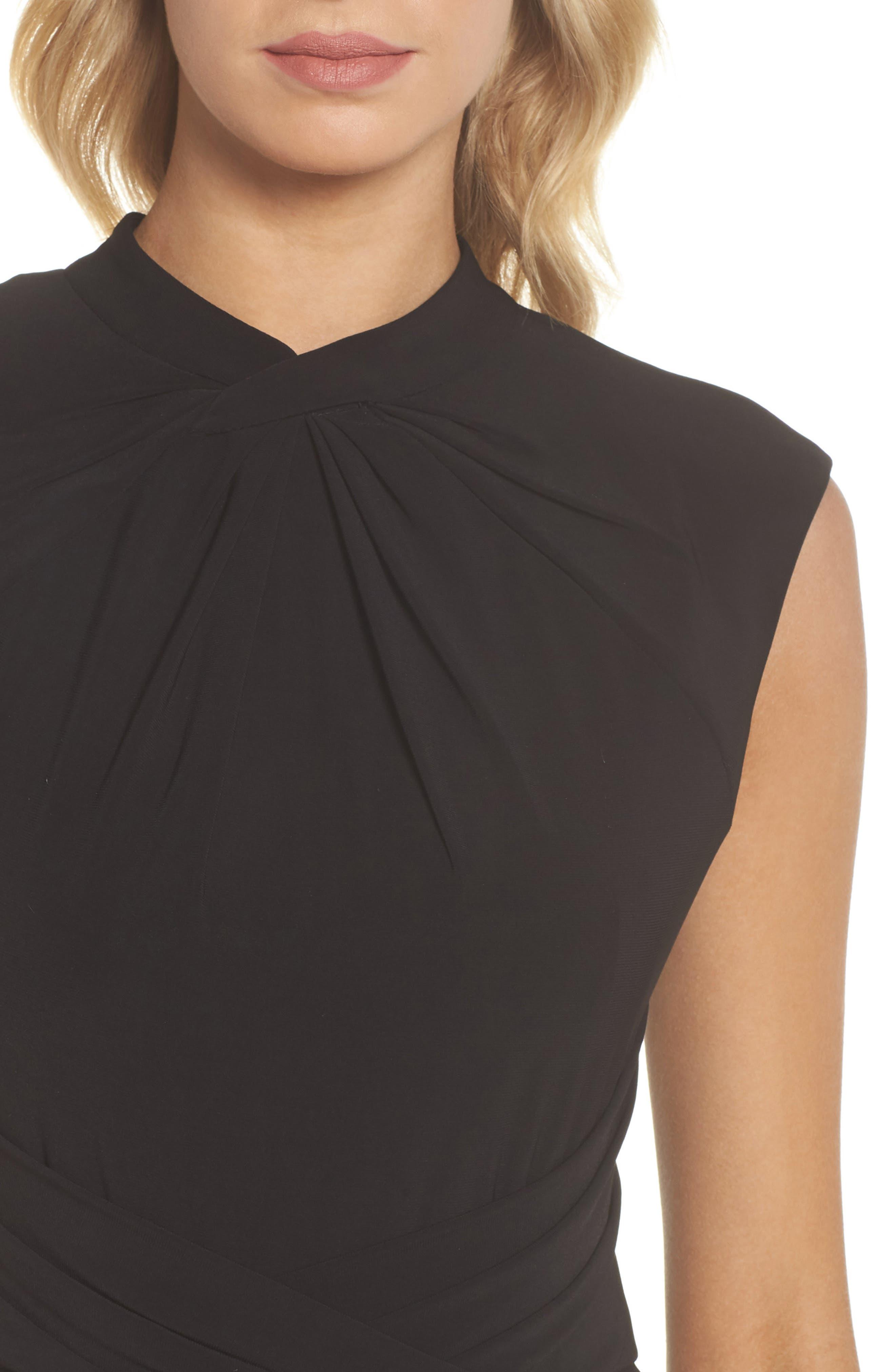 Matte Jersey Sheath Dress,                             Alternate thumbnail 4, color,                             Black
