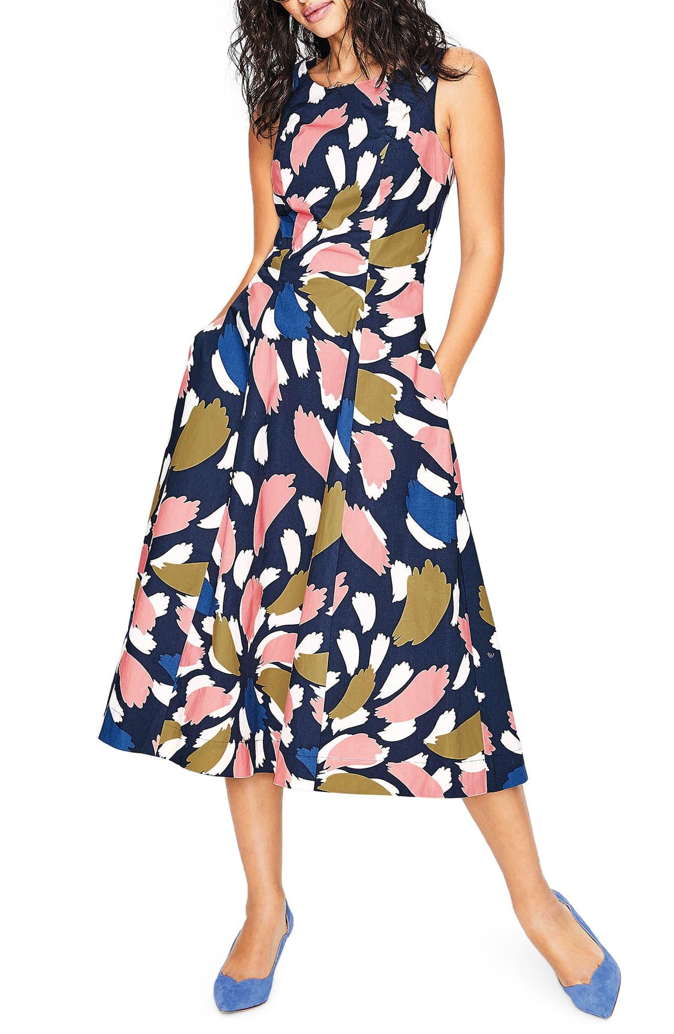 Elena Fit & Flare Cotton Dress,                             Main thumbnail 1, color,                             Navy Brush Stroke