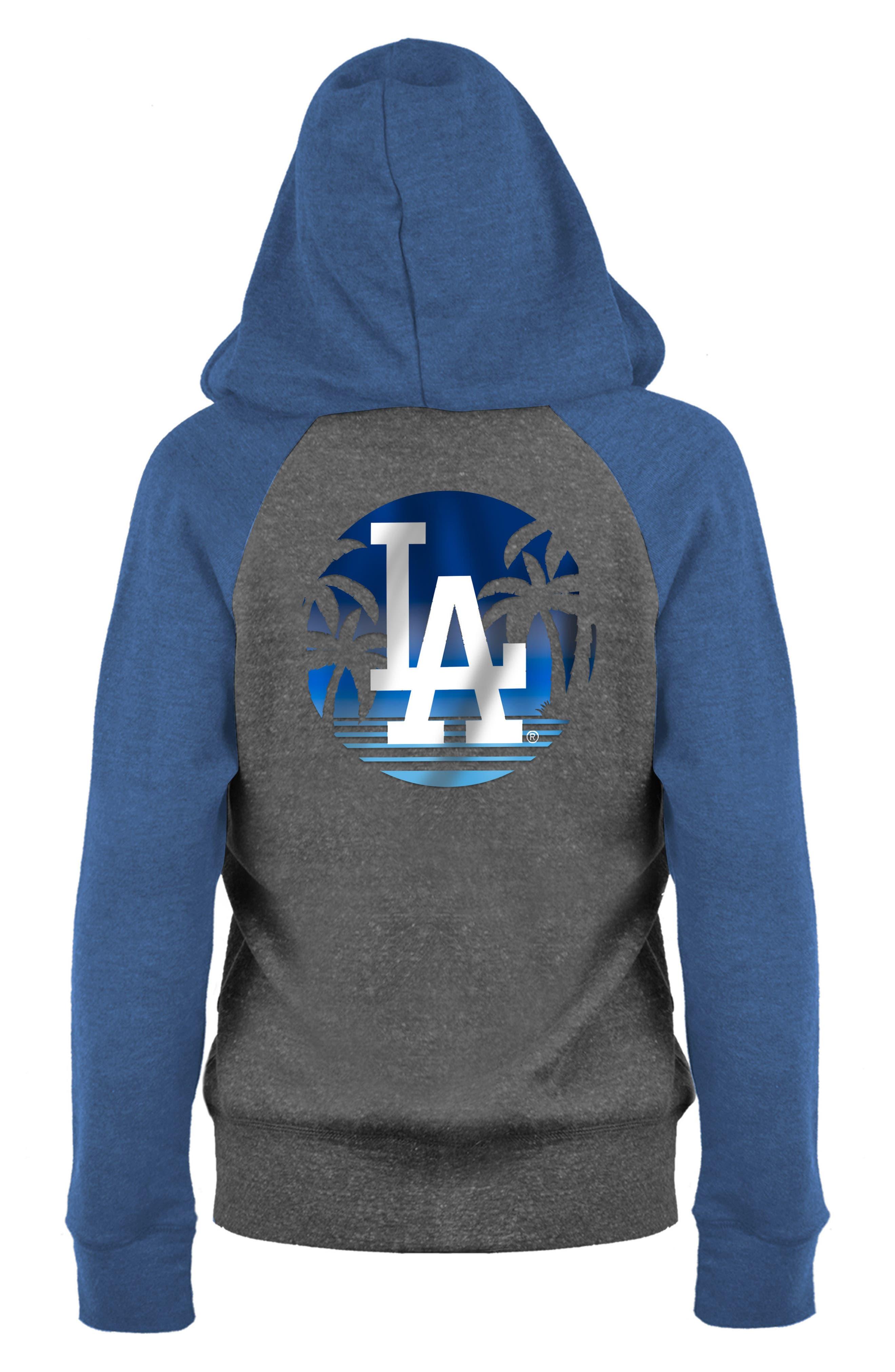 MLB Triblend Zip Hoodie,                             Alternate thumbnail 2, color,                             Grey/ Royal Dodgers