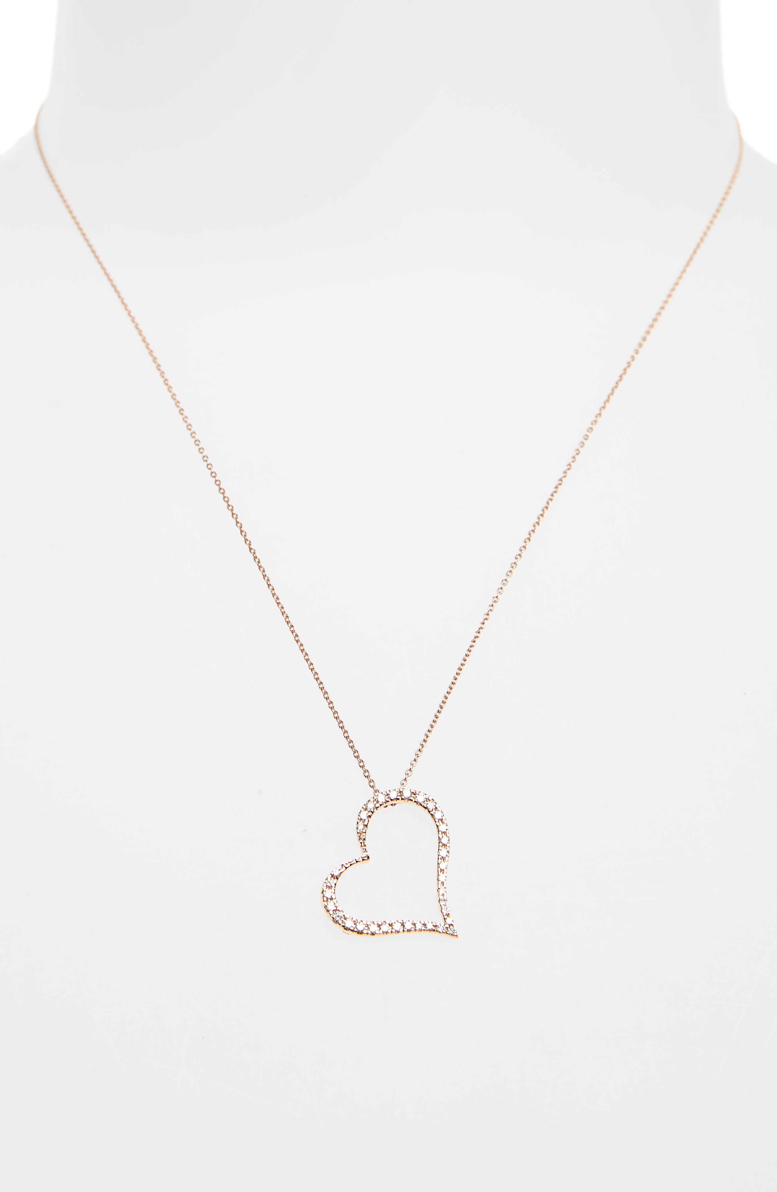Diamond Slant Heart Pendant Necklace,                             Alternate thumbnail 2, color,                             Rose Gold