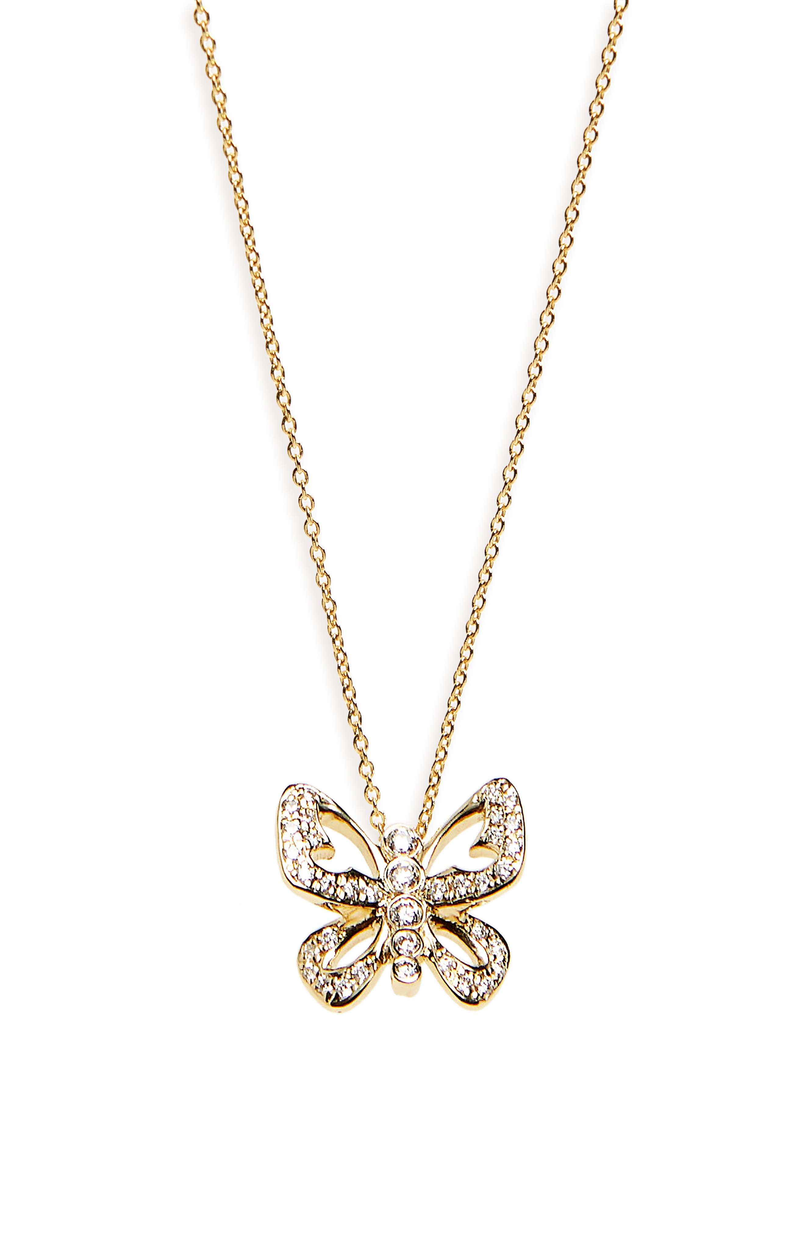 Diamond Butterfly Pendant Necklace,                         Main,                         color, Yellow Gold