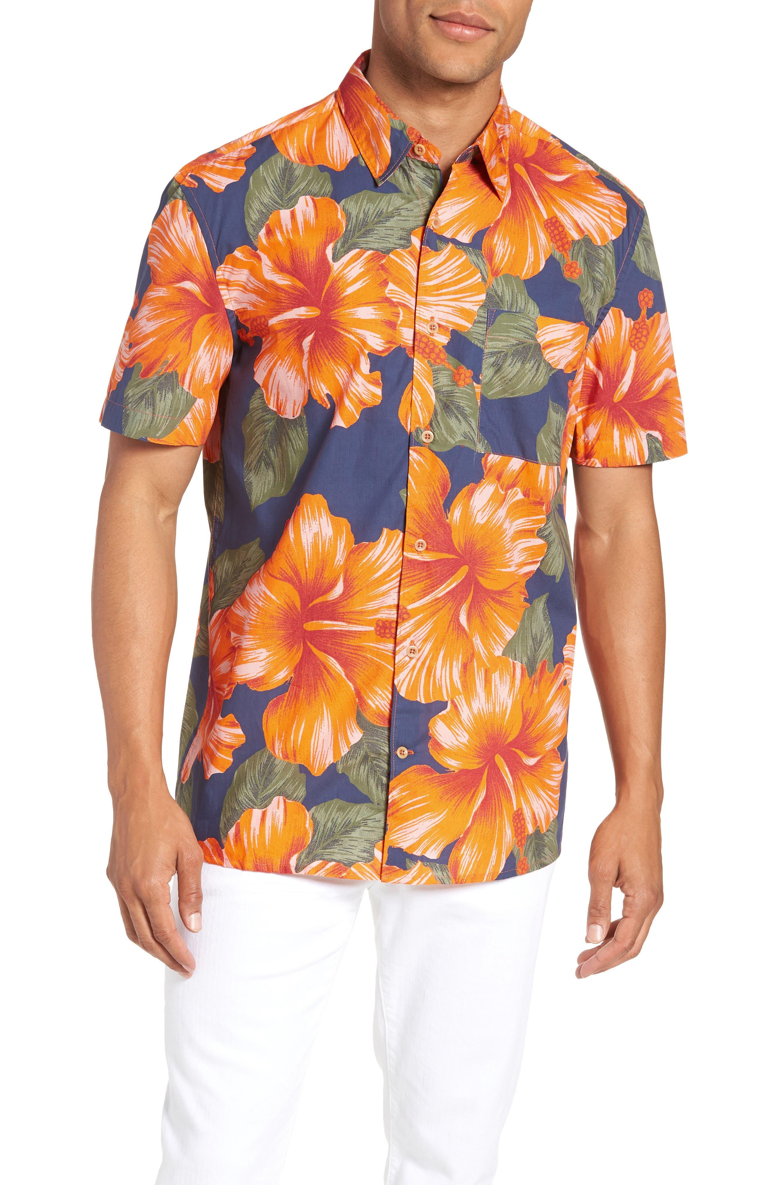 Wela Regular Fit Hawaiian Camp Shirt,                         Main,                         color, Deep Cobalt