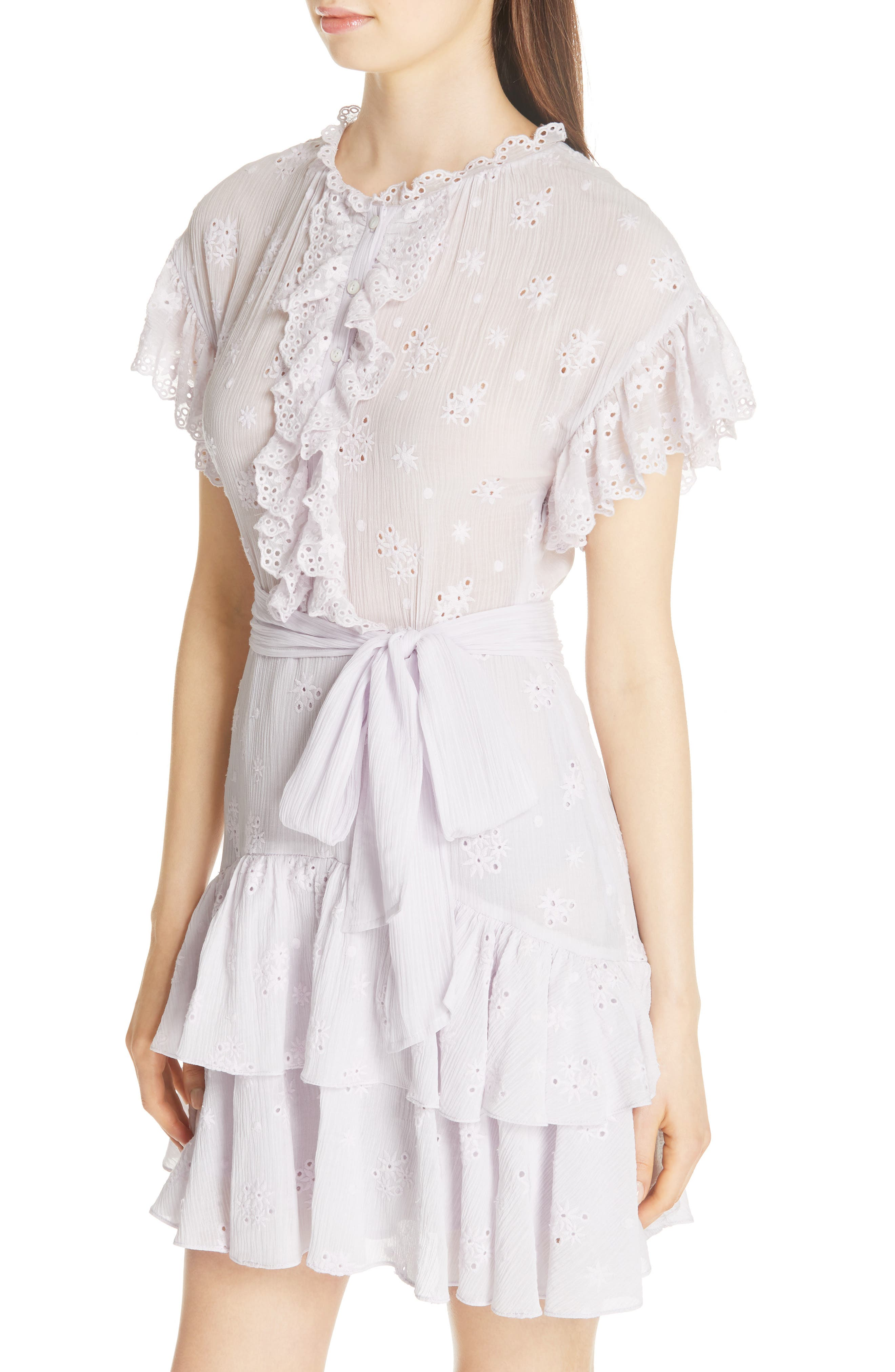 Dree Embroidered Ruffle Dress,                             Alternate thumbnail 4, color,                             Faded Lavender
