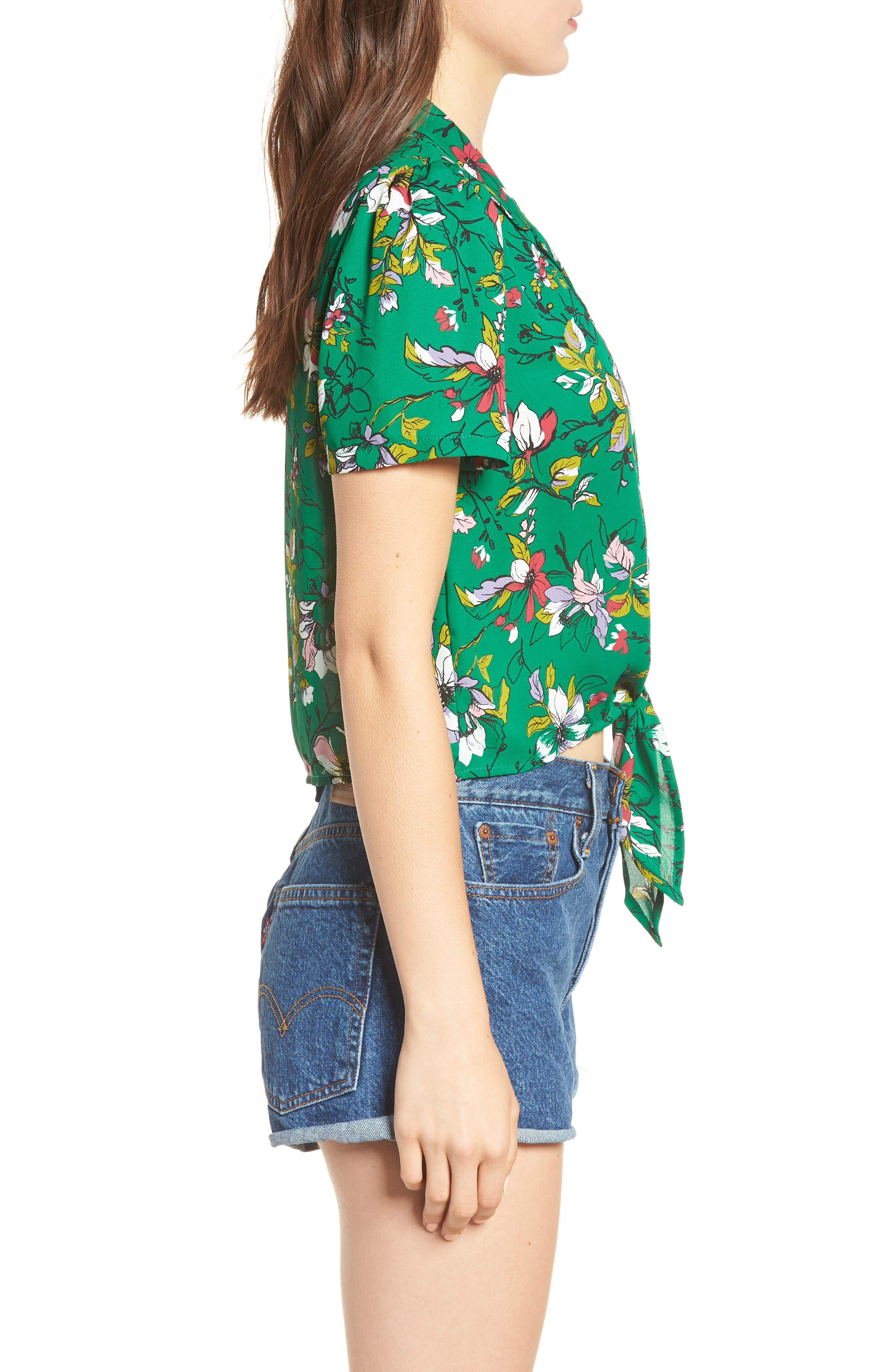 Tie Front Camp Shirt,                             Alternate thumbnail 3, color,                             Green Floral