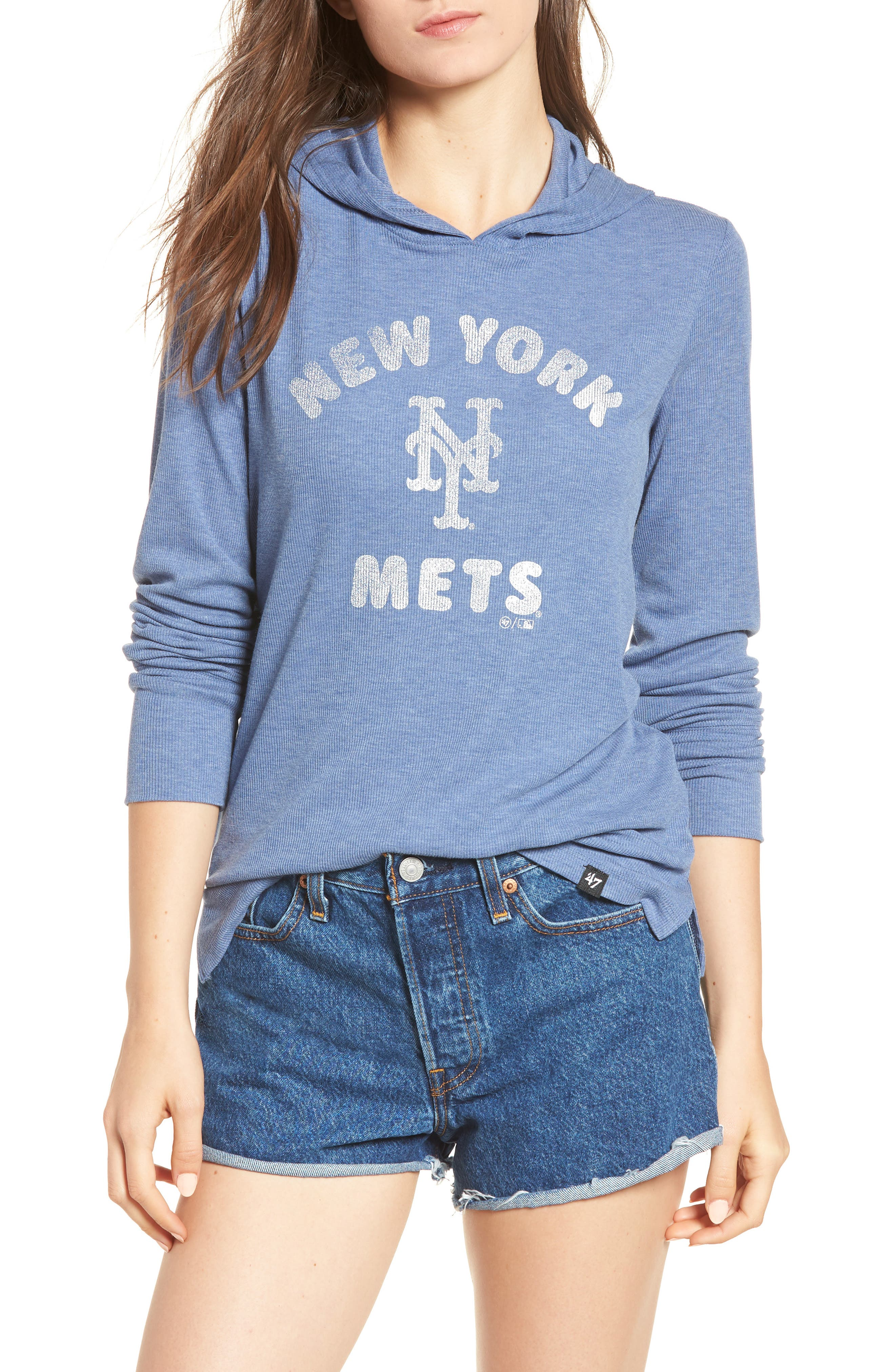 Campbell New York Mets Rib Knit Hoodie,                             Main thumbnail 1, color,                             Bleacher Blue