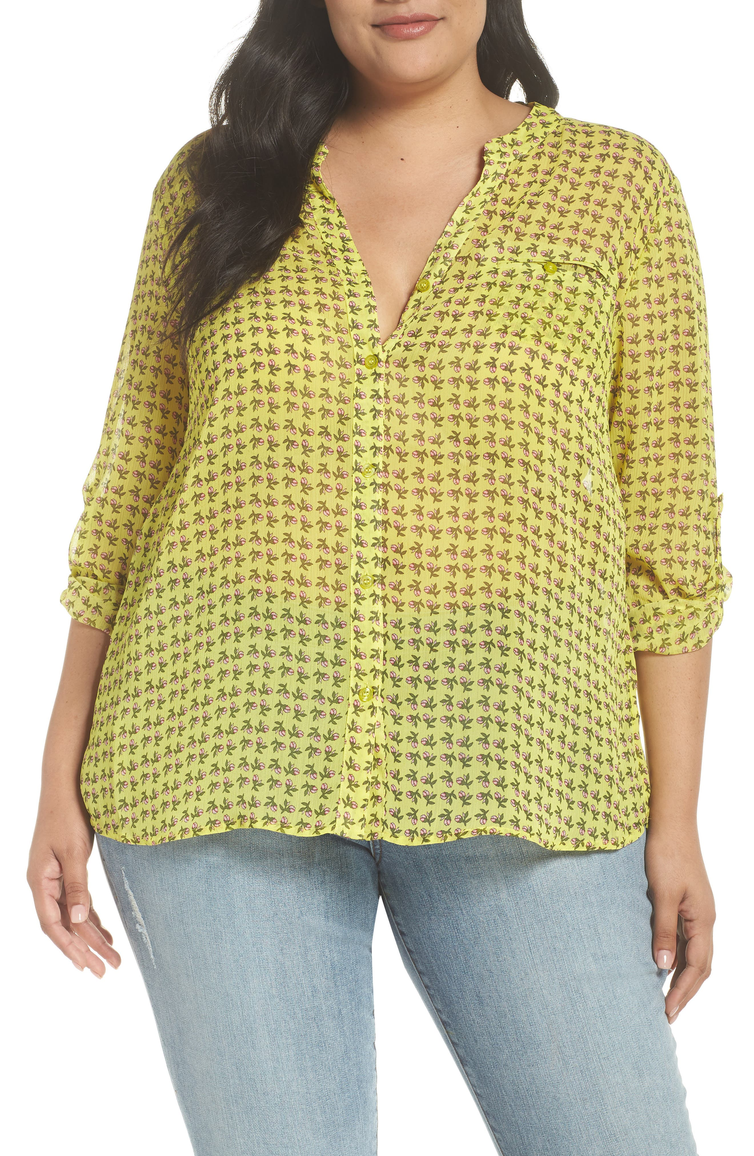 Jasmine Floral Roll Sleeve Top,                             Main thumbnail 1, color,                             Bright Yellow
