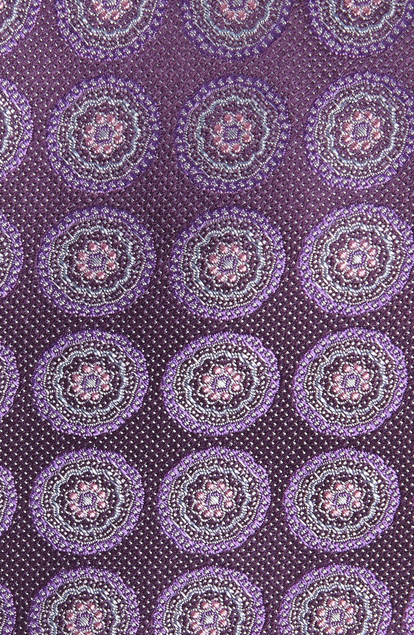 Pinpoint Medallion Silk Tie,                             Alternate thumbnail 2, color,                             Dark Fashion Purple