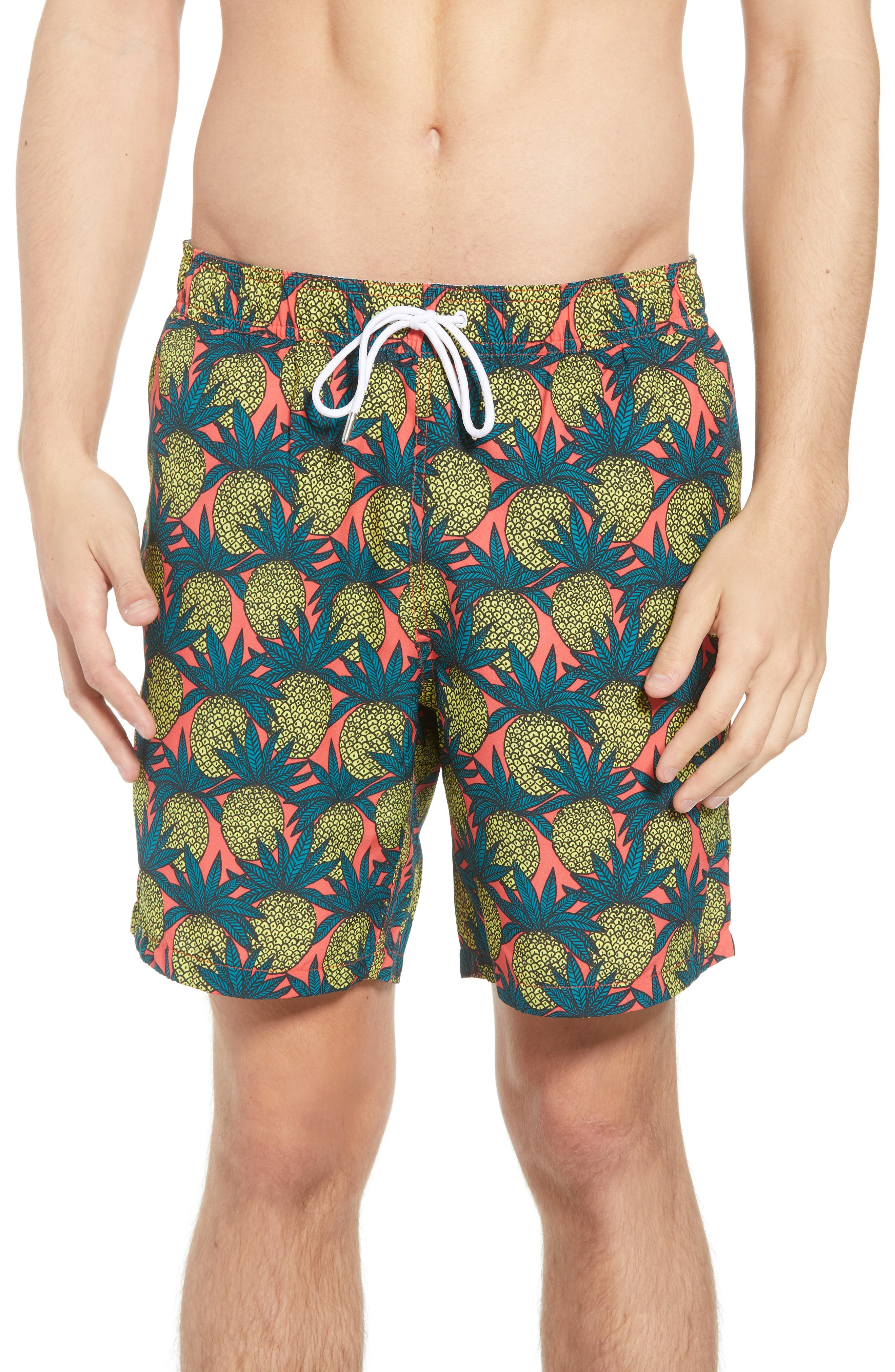 Banzai 7-Inch Swim Trunks,                         Main,                         color, Pineapple Fields