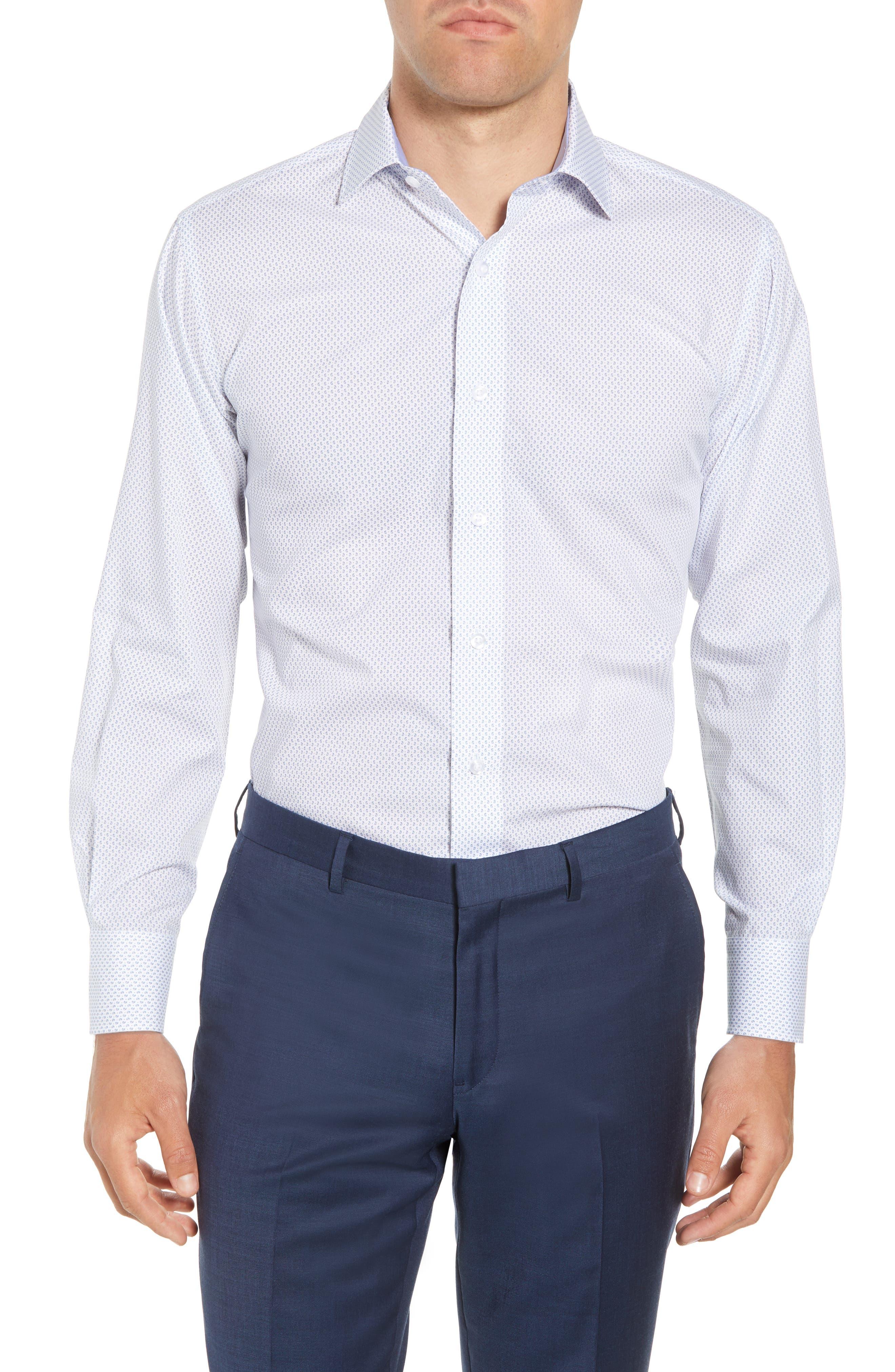 Trim Fit Paisley Dress Shirt,                             Main thumbnail 1, color,                             White/ Blue