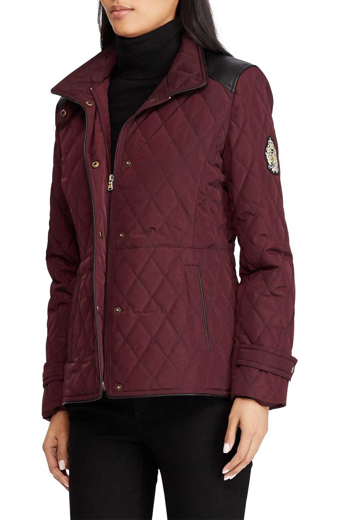 Quilted Faux Leather Trim Jacket,                             Main thumbnail 1, color,                             Burgundy