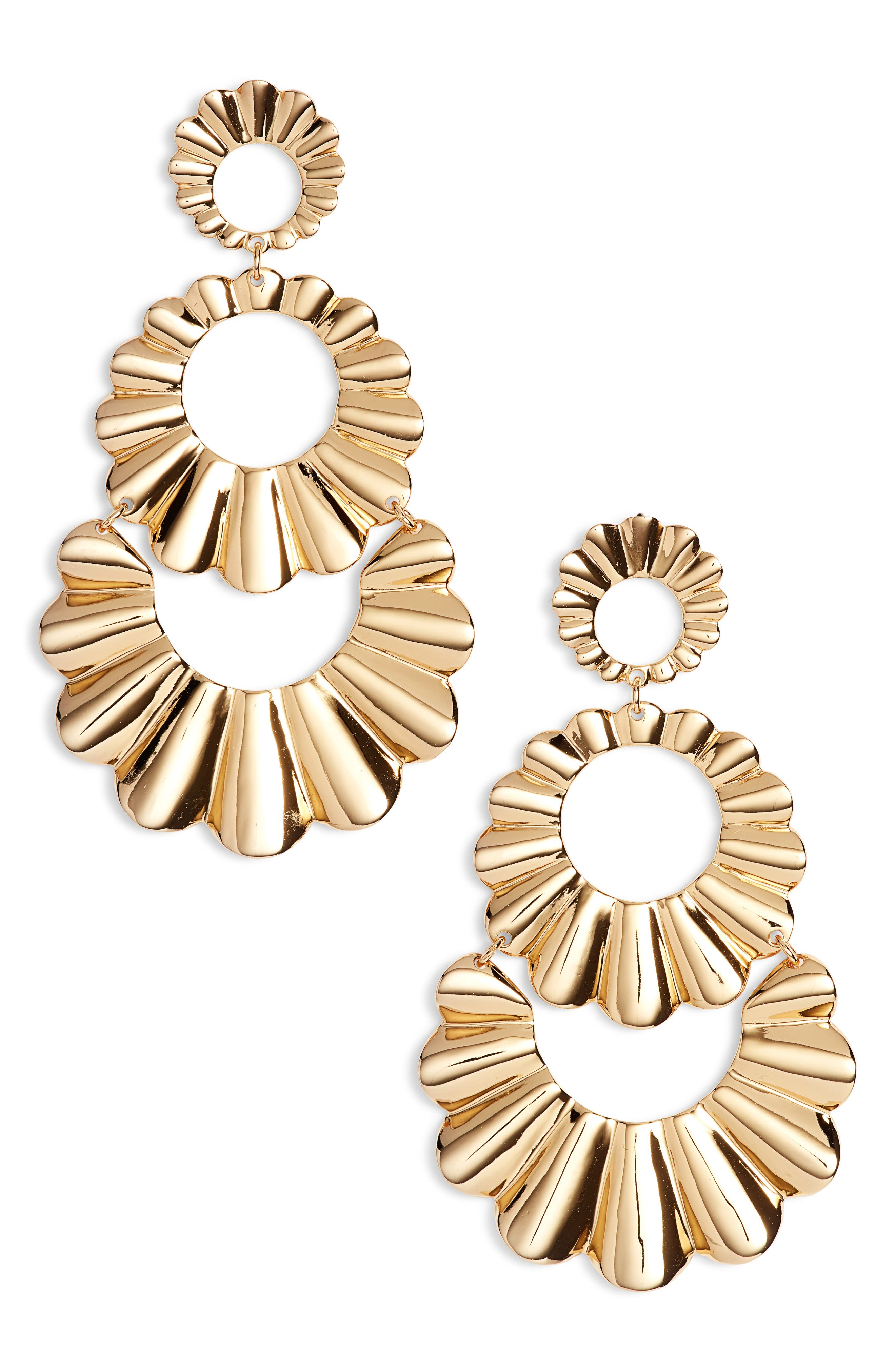 scrunch scallops triple drop earrings,                             Main thumbnail 1, color,                             Gold