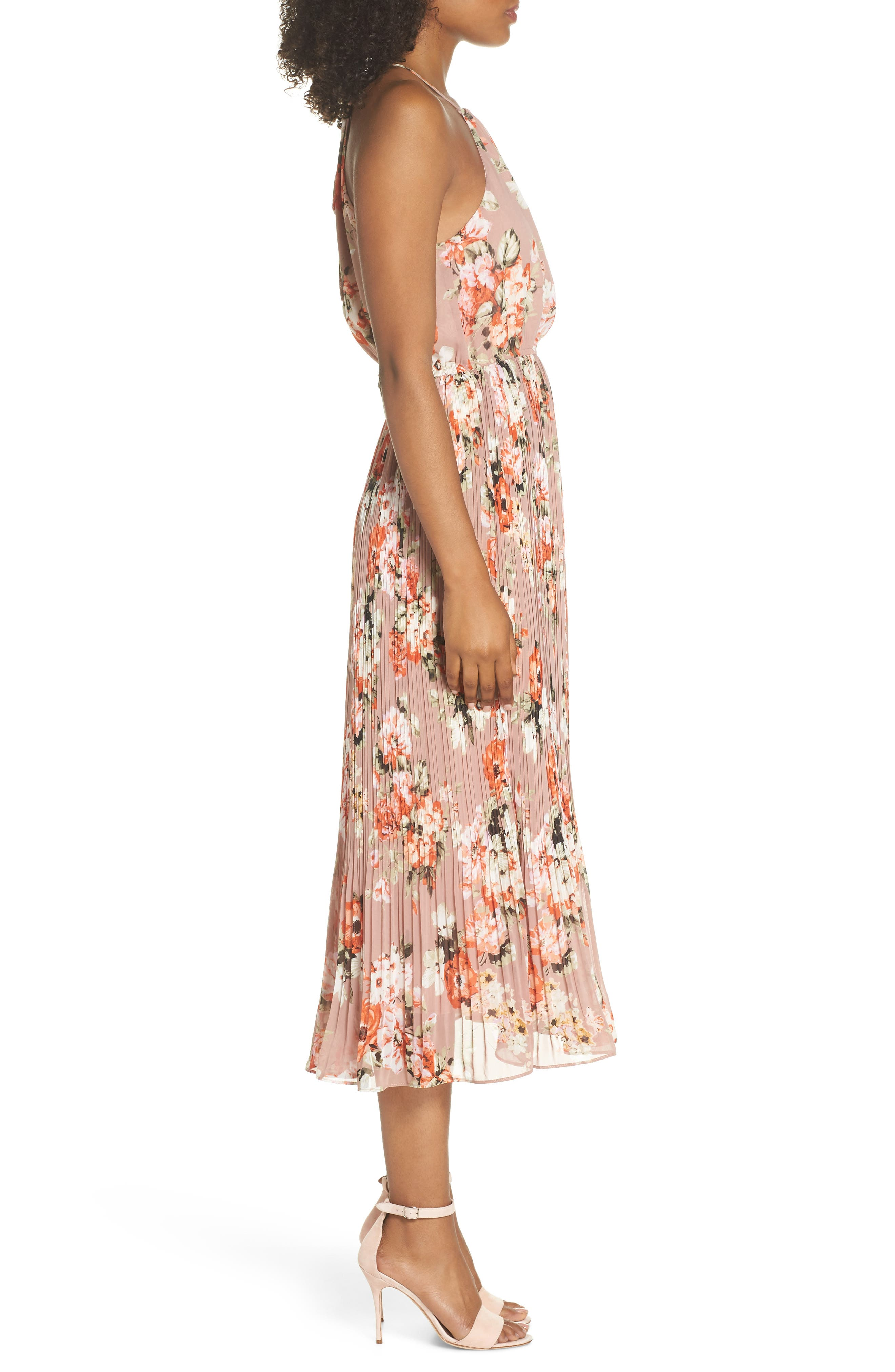 Floral Pleated Halter Dress,                             Alternate thumbnail 3, color,                             Mauve
