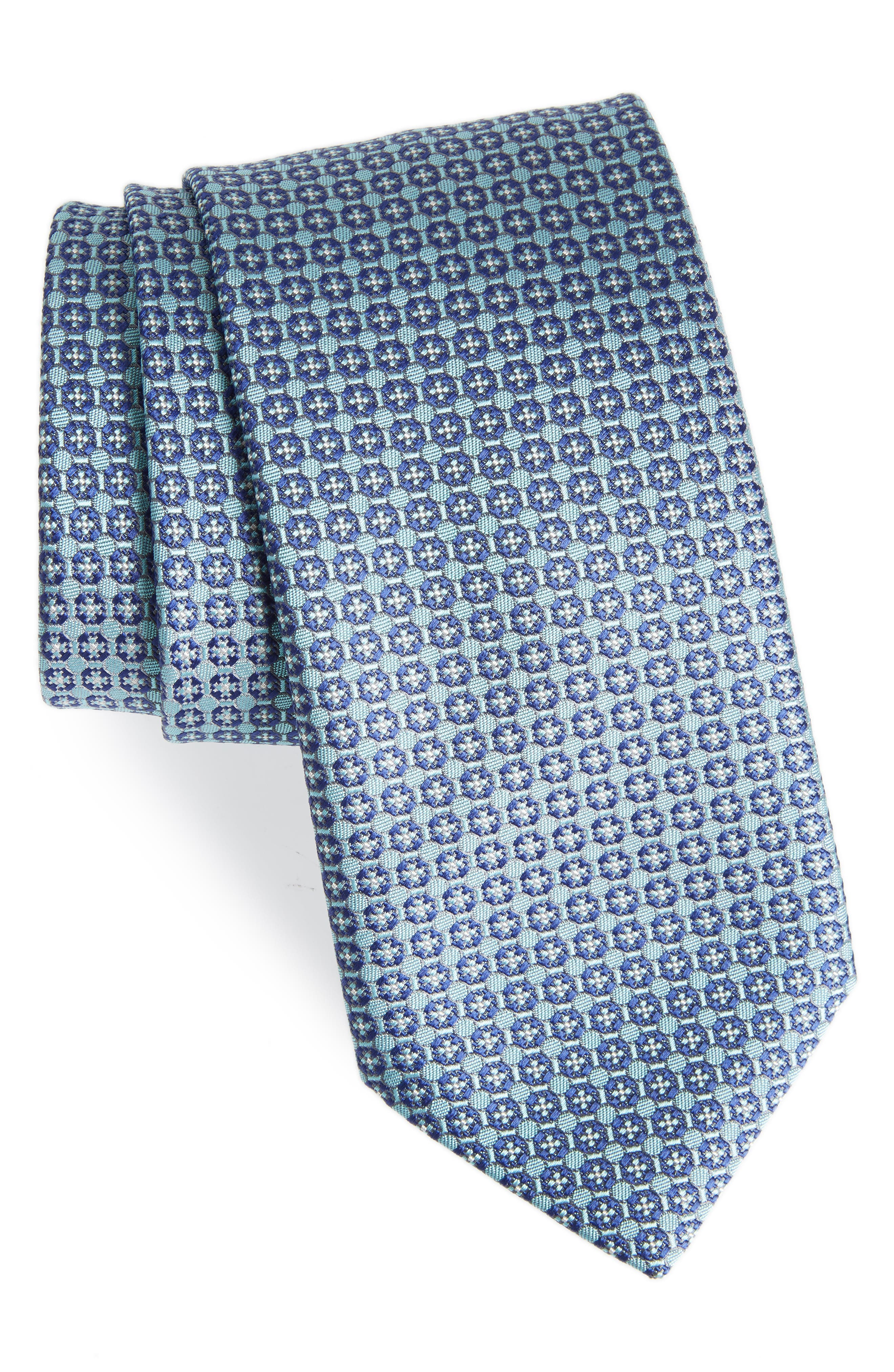 Neat Geometric Silk Tie,                             Main thumbnail 1, color,                             Aqua/ Blue