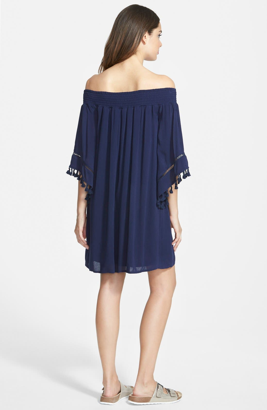 Alternate Image 2  - Fire Tassel Trim Off the Shoulder Dress (Juniors)
