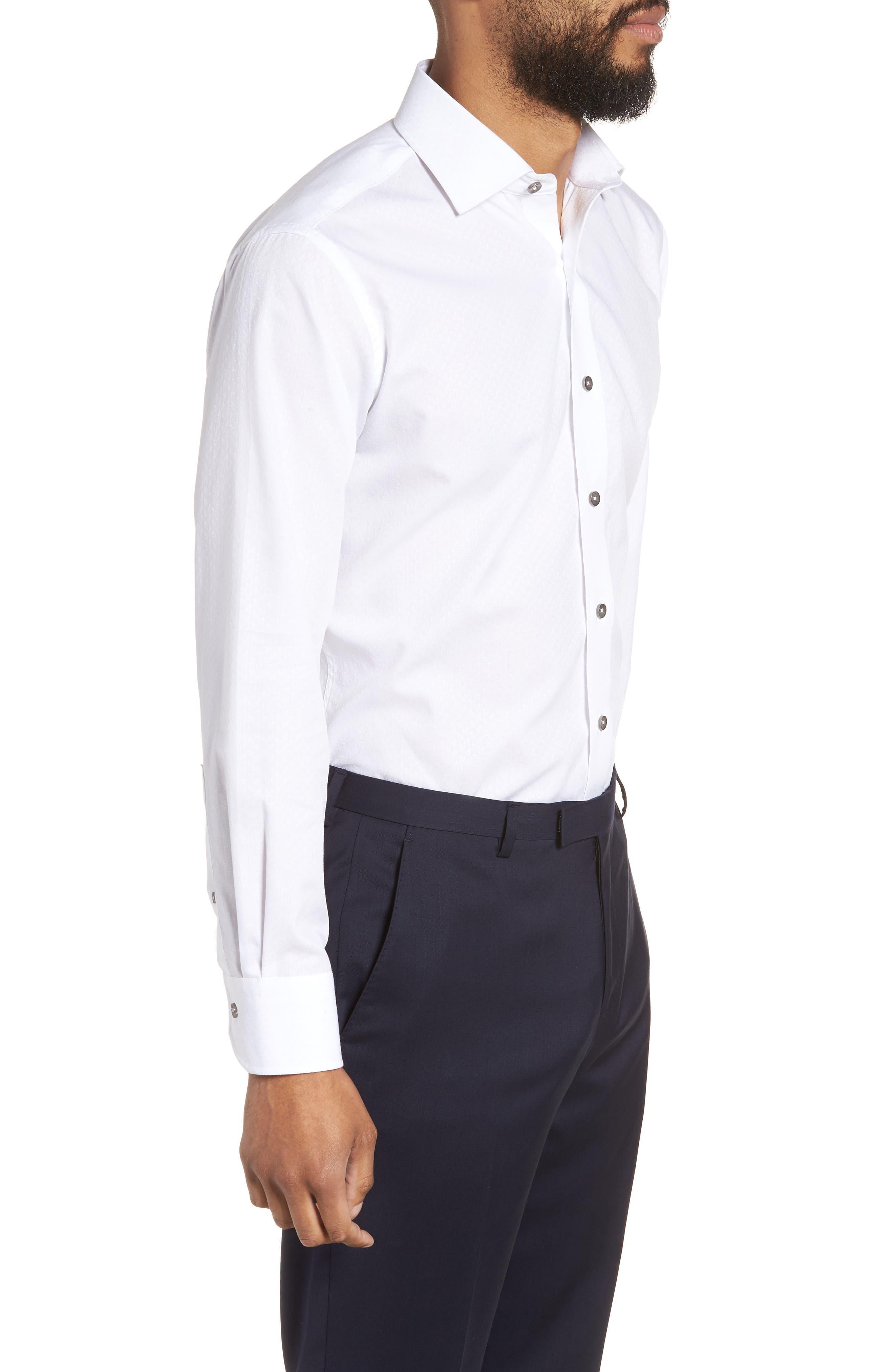 Trim Fit Floral Dress Shirt,                             Alternate thumbnail 4, color,                             White