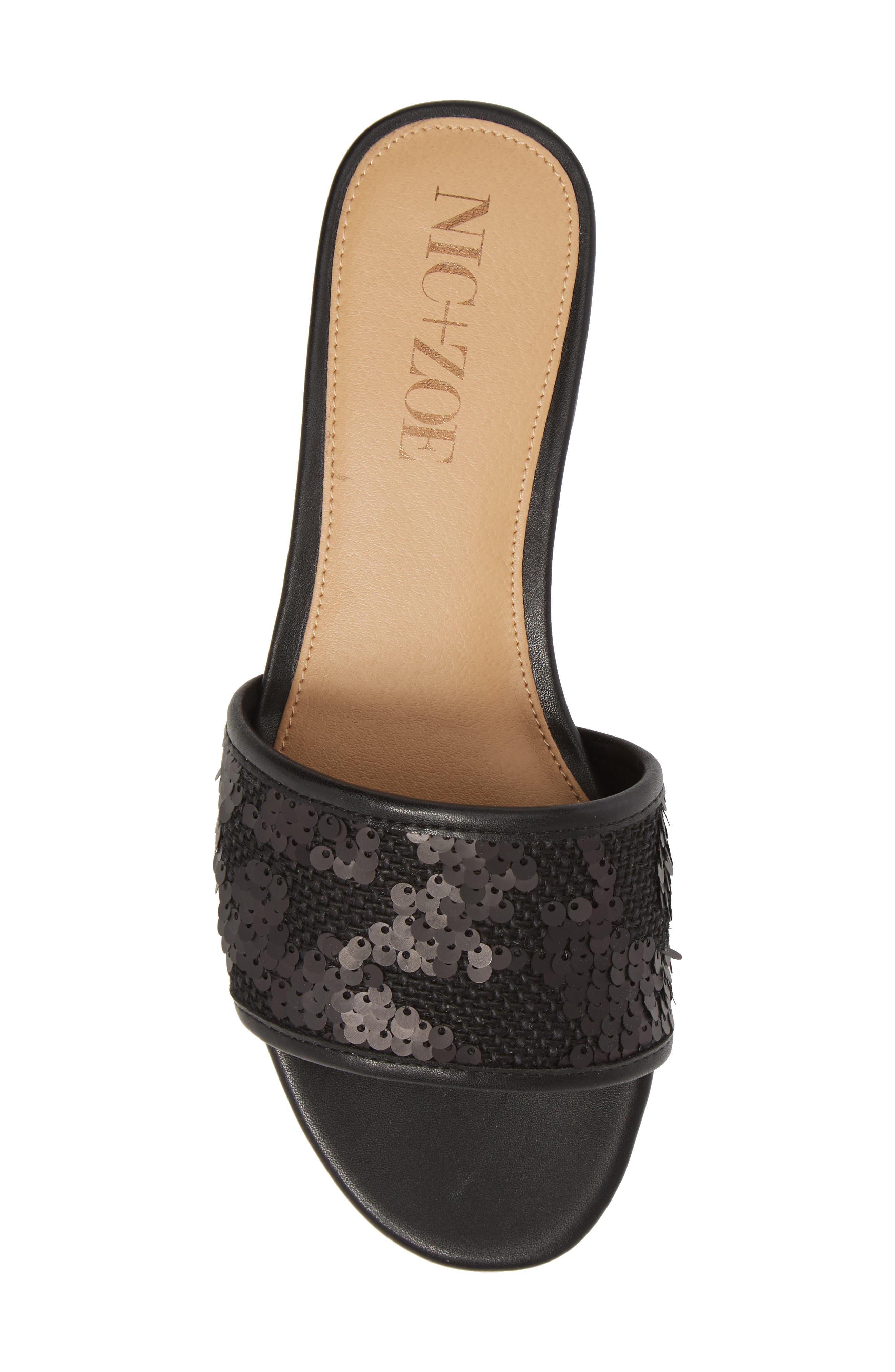 NIC + ZOE Sandy Sequin Low Heel Slide,                             Alternate thumbnail 5, color,                             Black Fabric